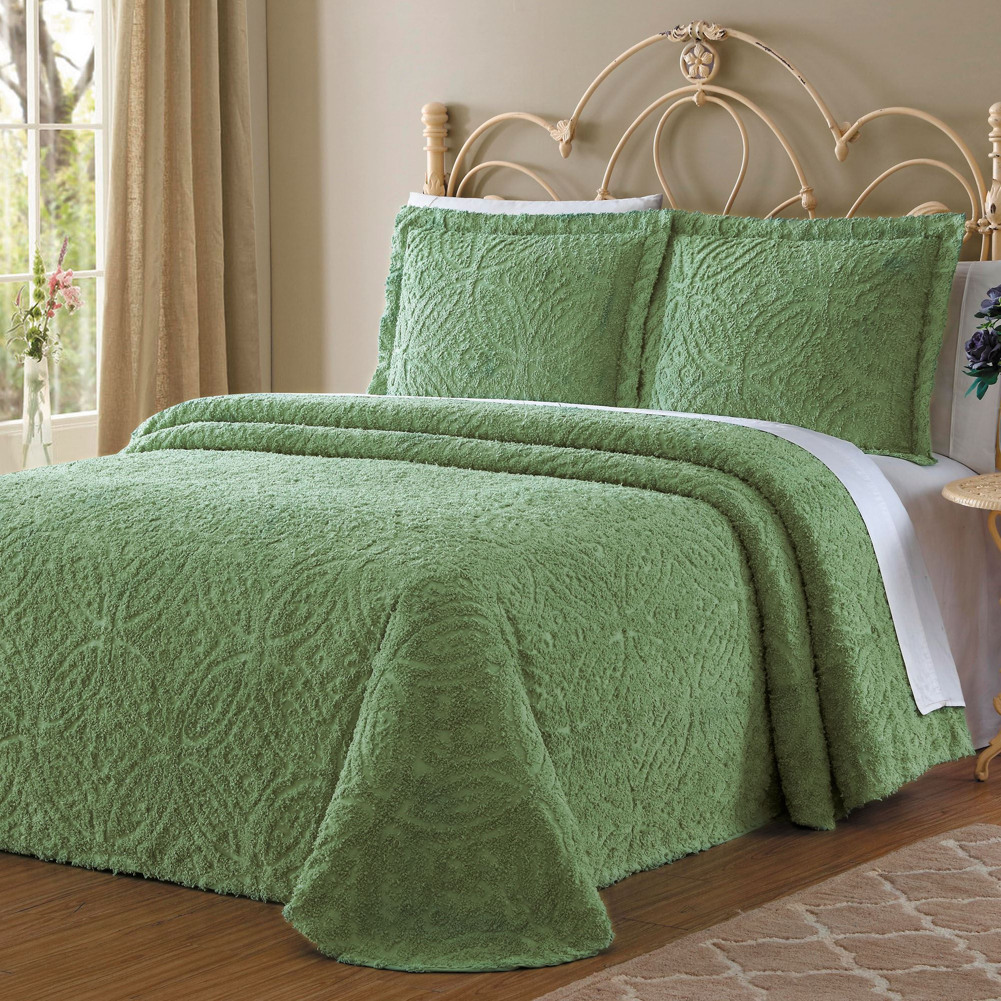 Wedding Ring Light Green Chenille Bedspread Bedding By Lemon E