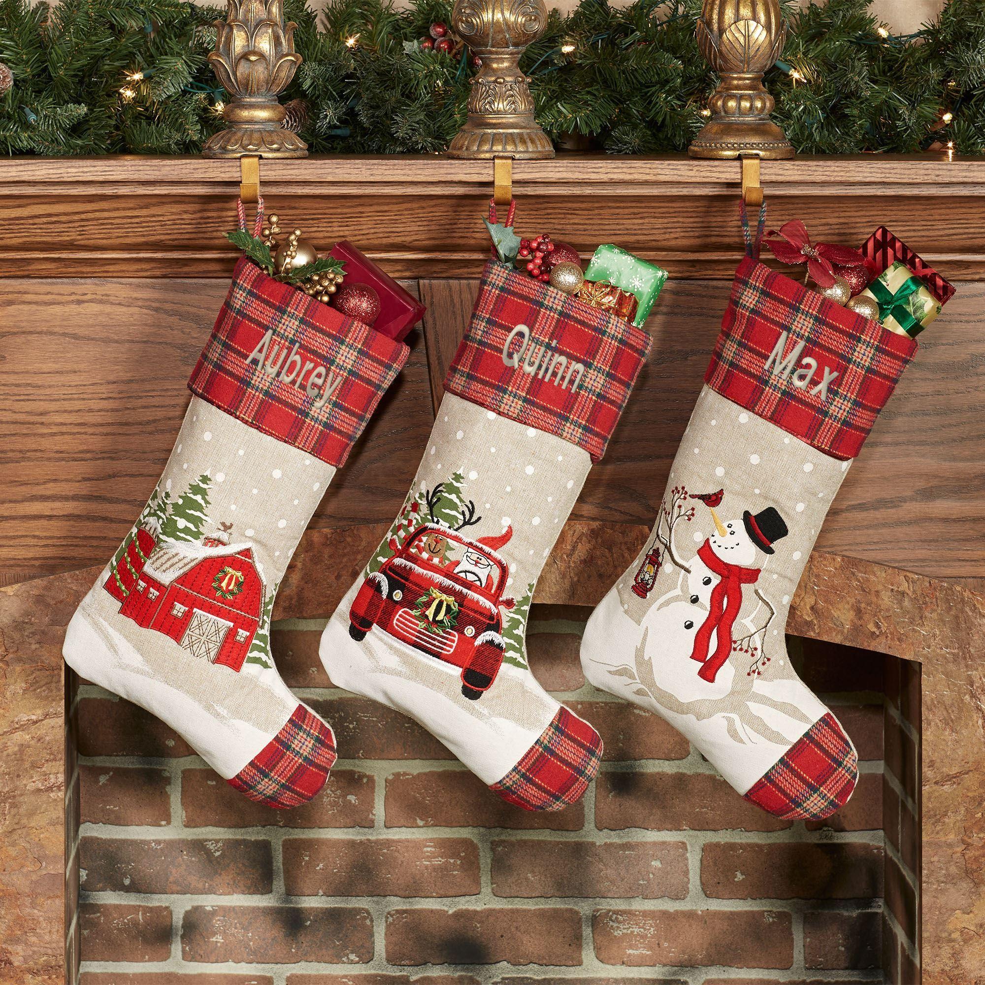 Farmhouse Plaid Christmas Stockings
