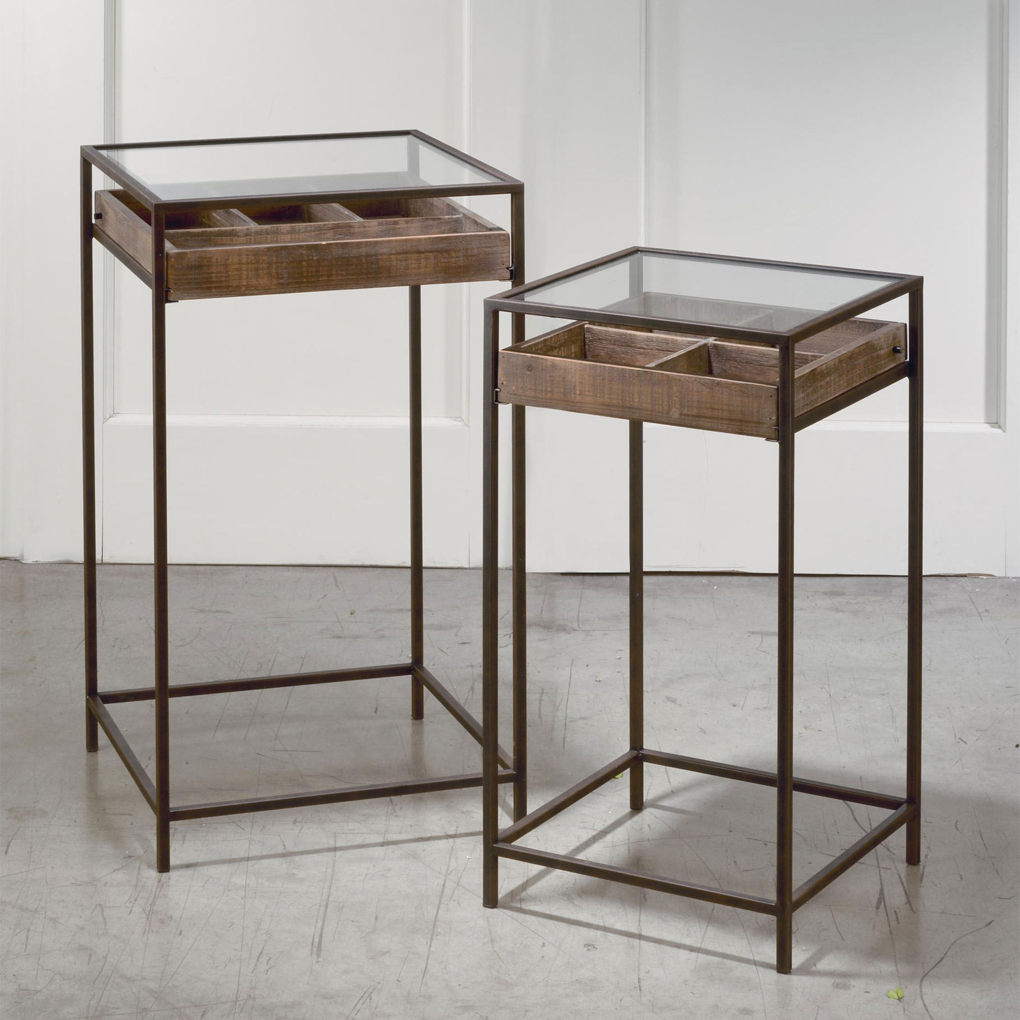 - Square Display Storage Accent Table Set With Slide Out Drawers