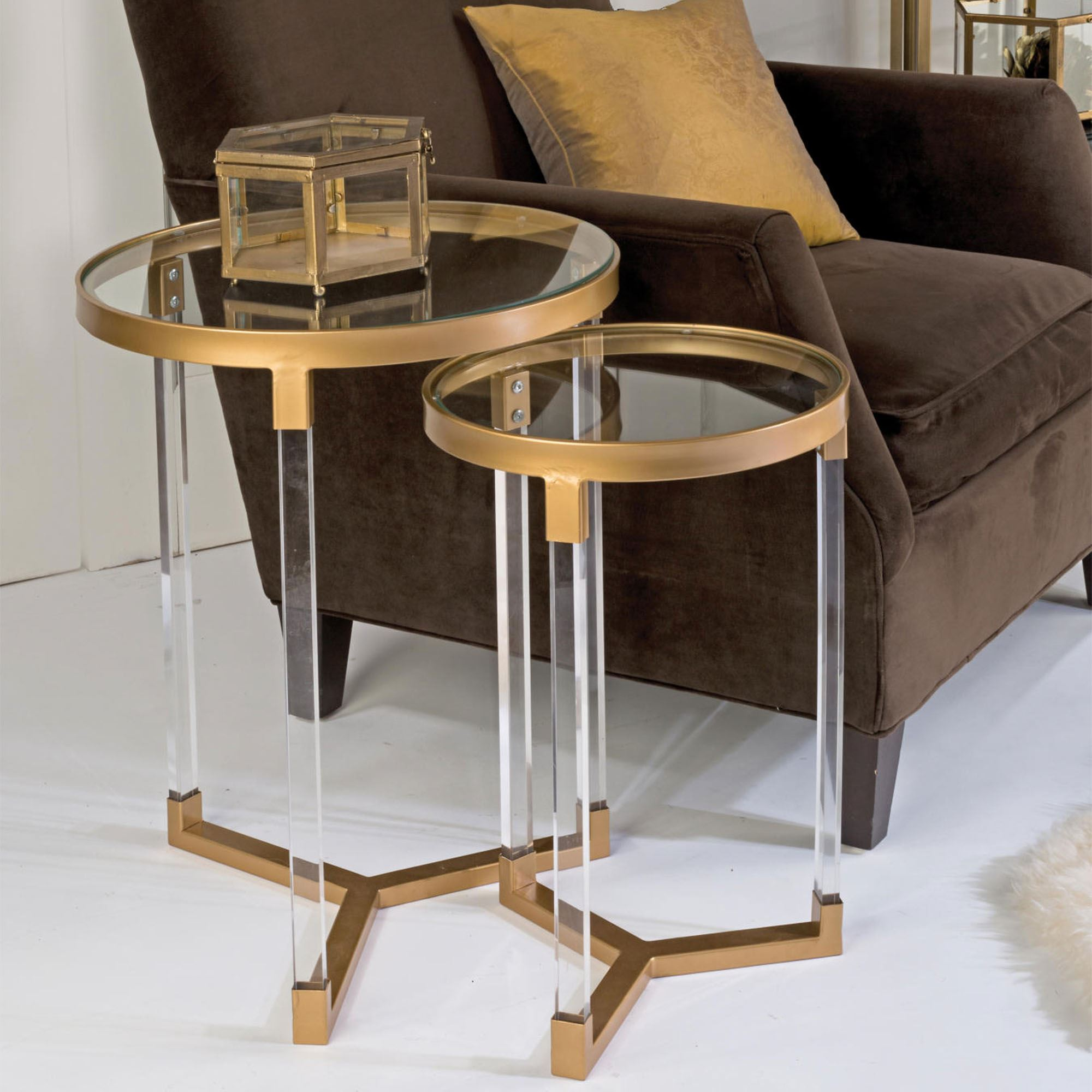 Round Coffee Table With Chairs.Janaye Acrylic And Gold Iron Round Side Table Set