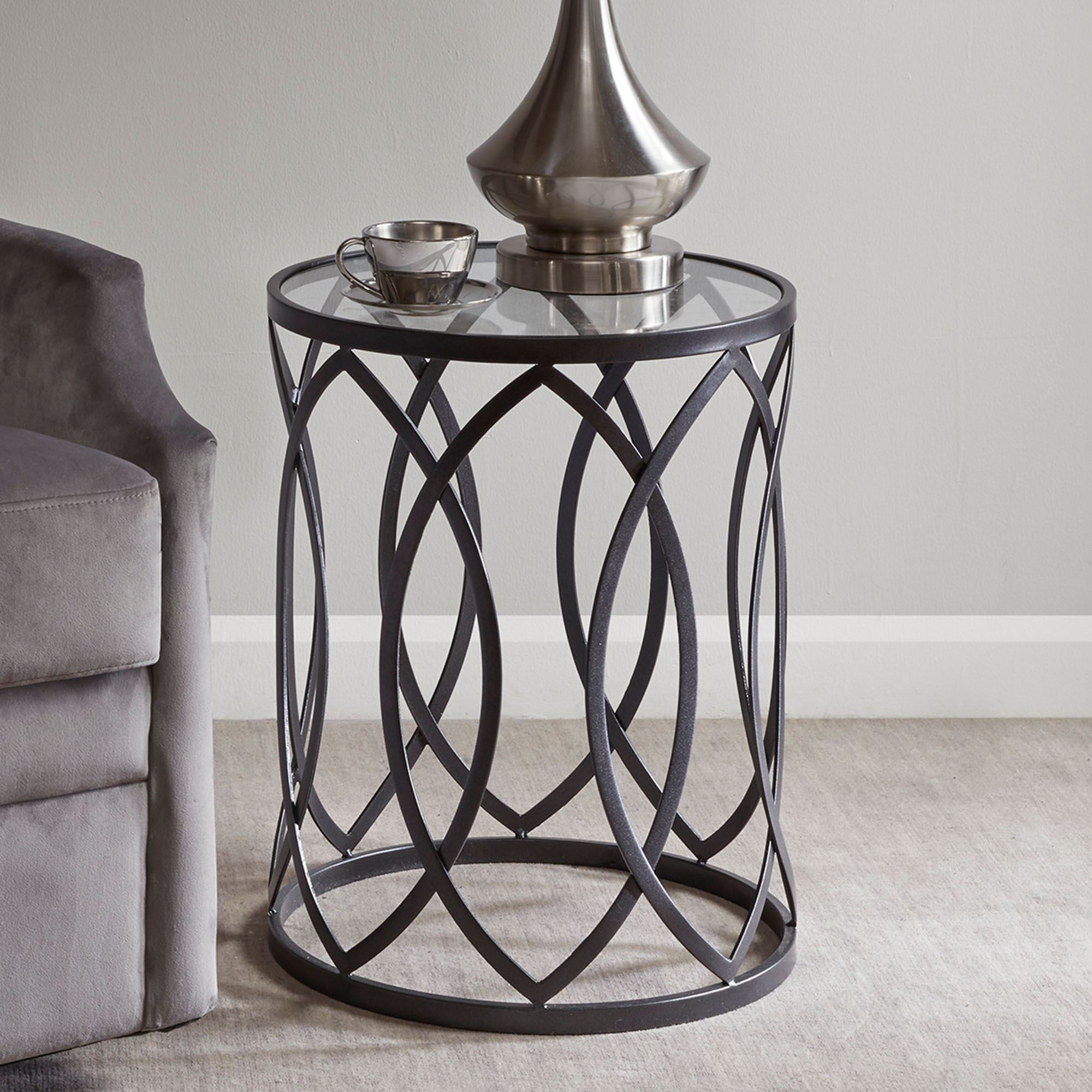 - Arrio Black Metal Round Accent Table With Glass Top