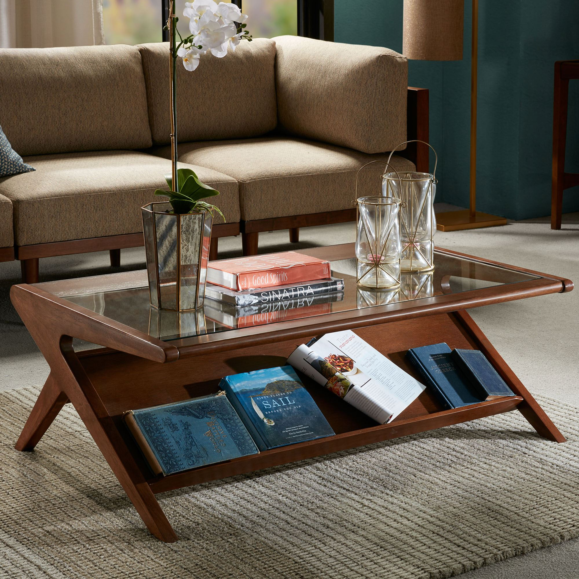 Zinus Pecan Finished Wooden Coffee Table With Shelf