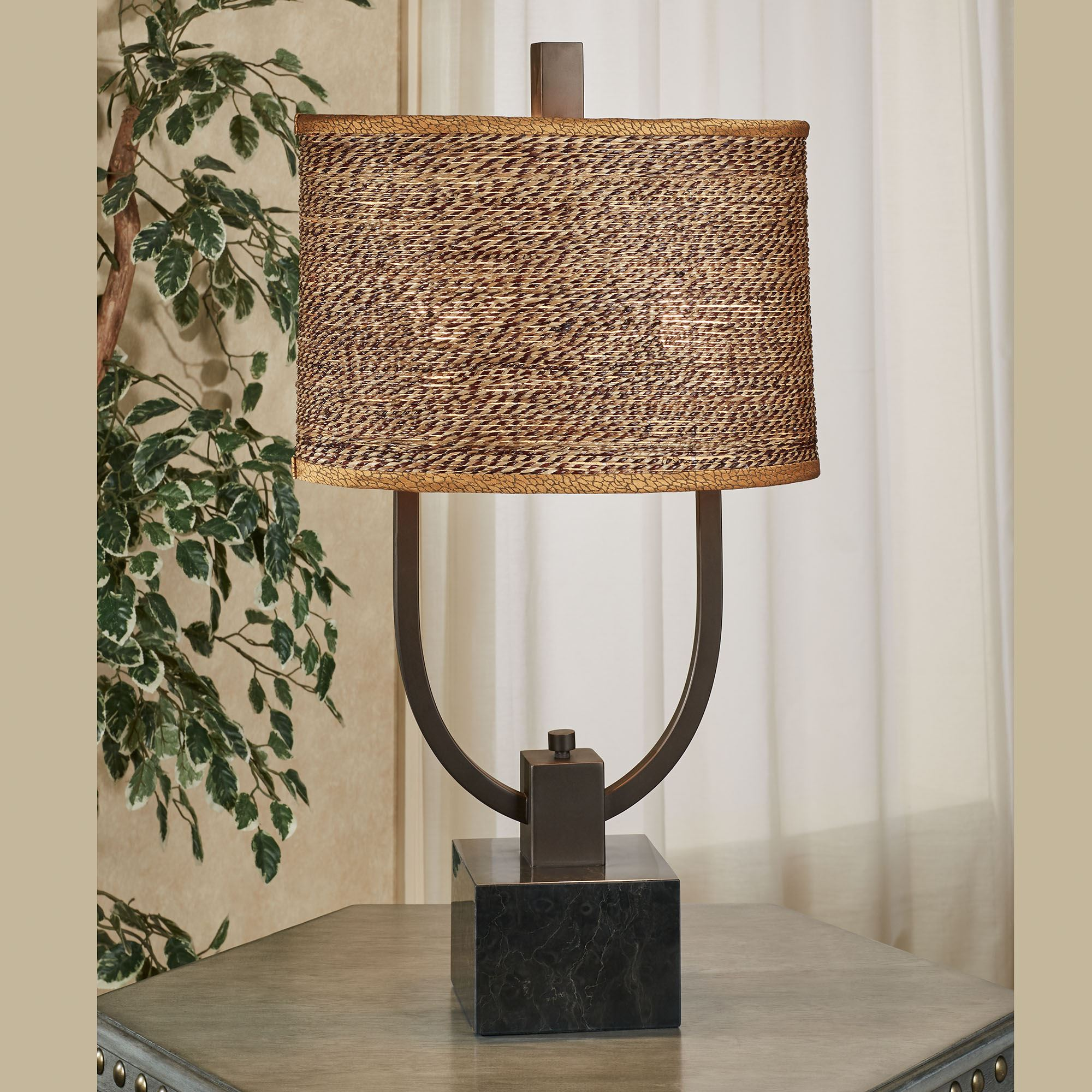 Carolyn Kinder Stabina Table Lamp with Woven Rattan Shade from Uttermost