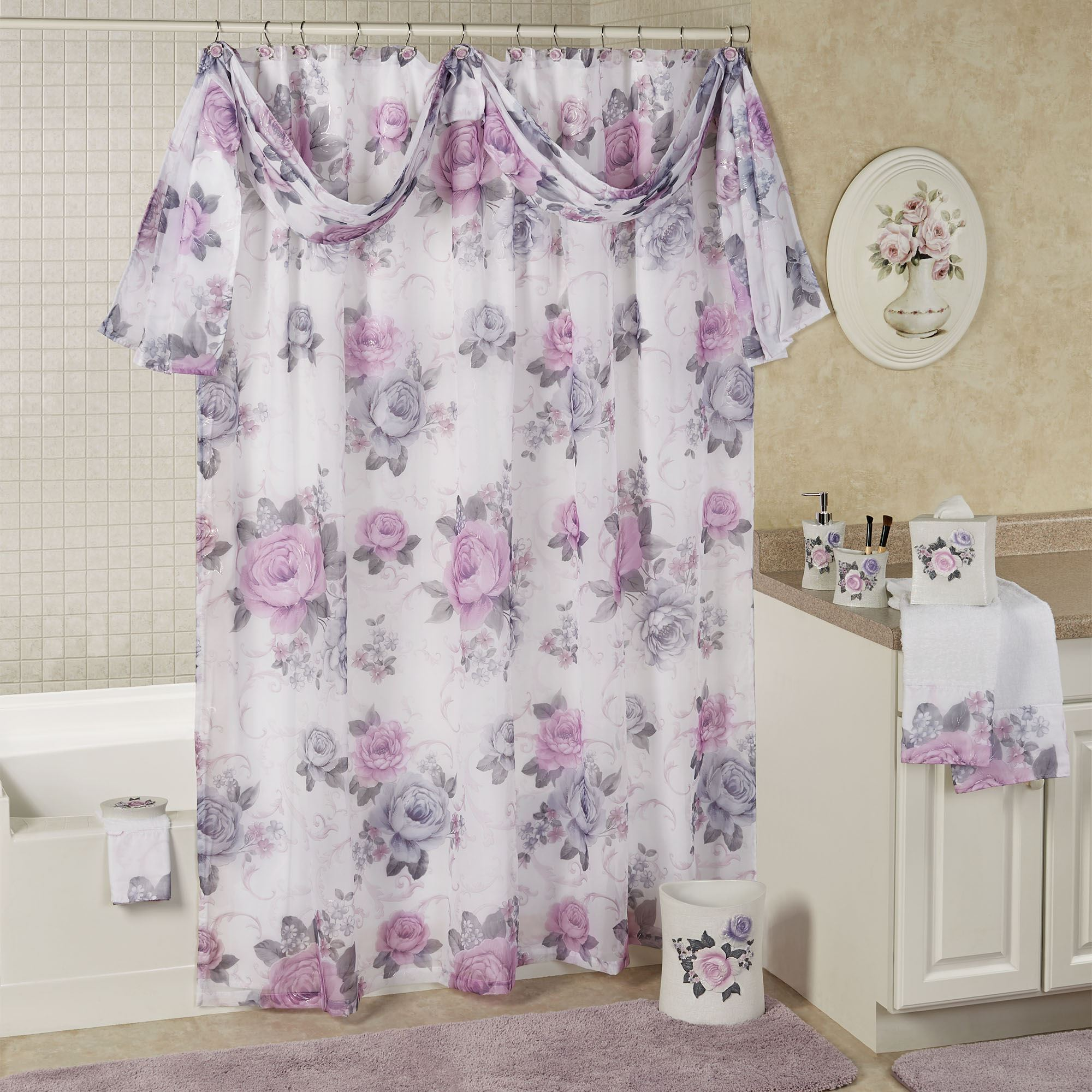 Michelle Semi Sheer Floral Shower Curtain