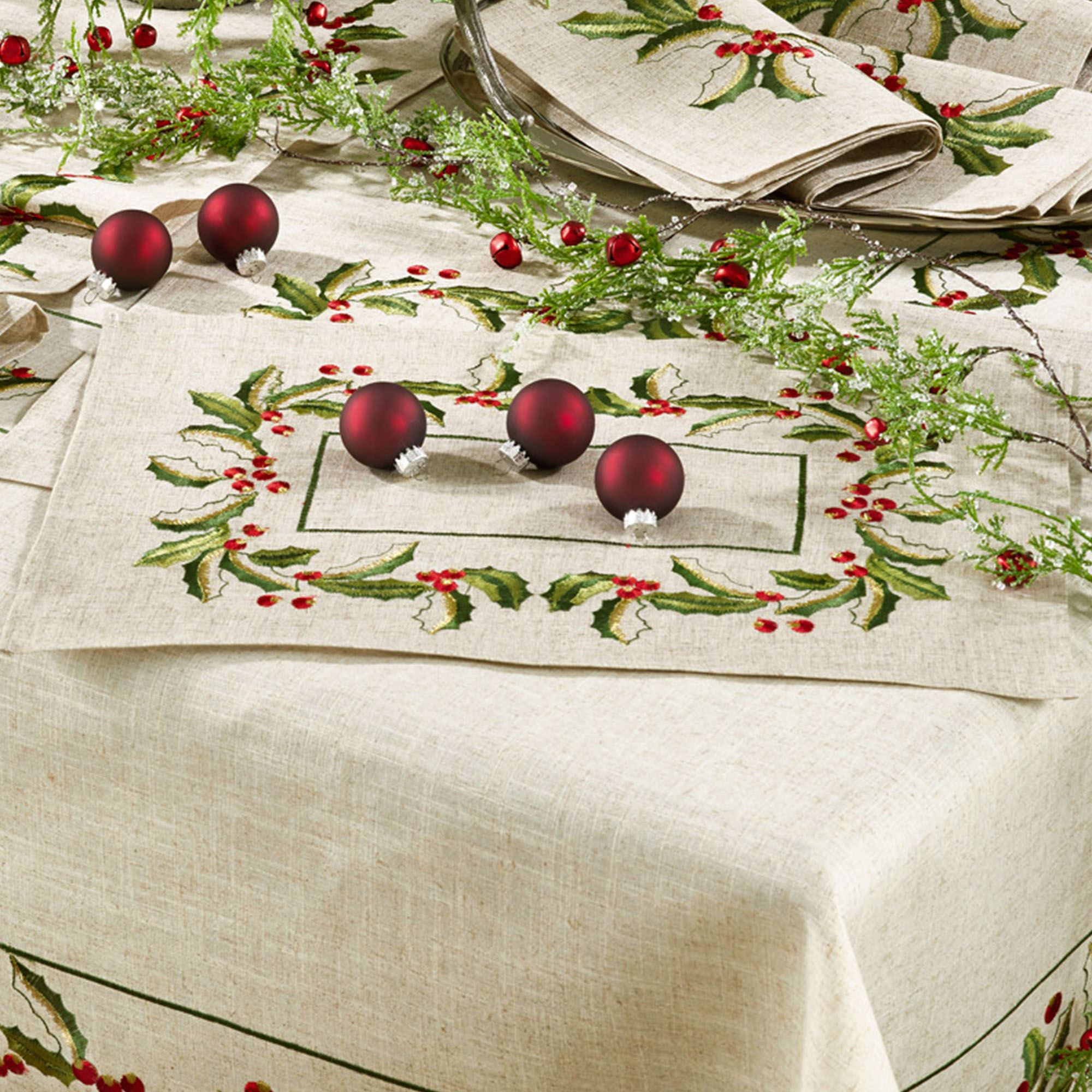 Traditional Holly Embroidered Table Linen Table Cloth or Runners or Sets