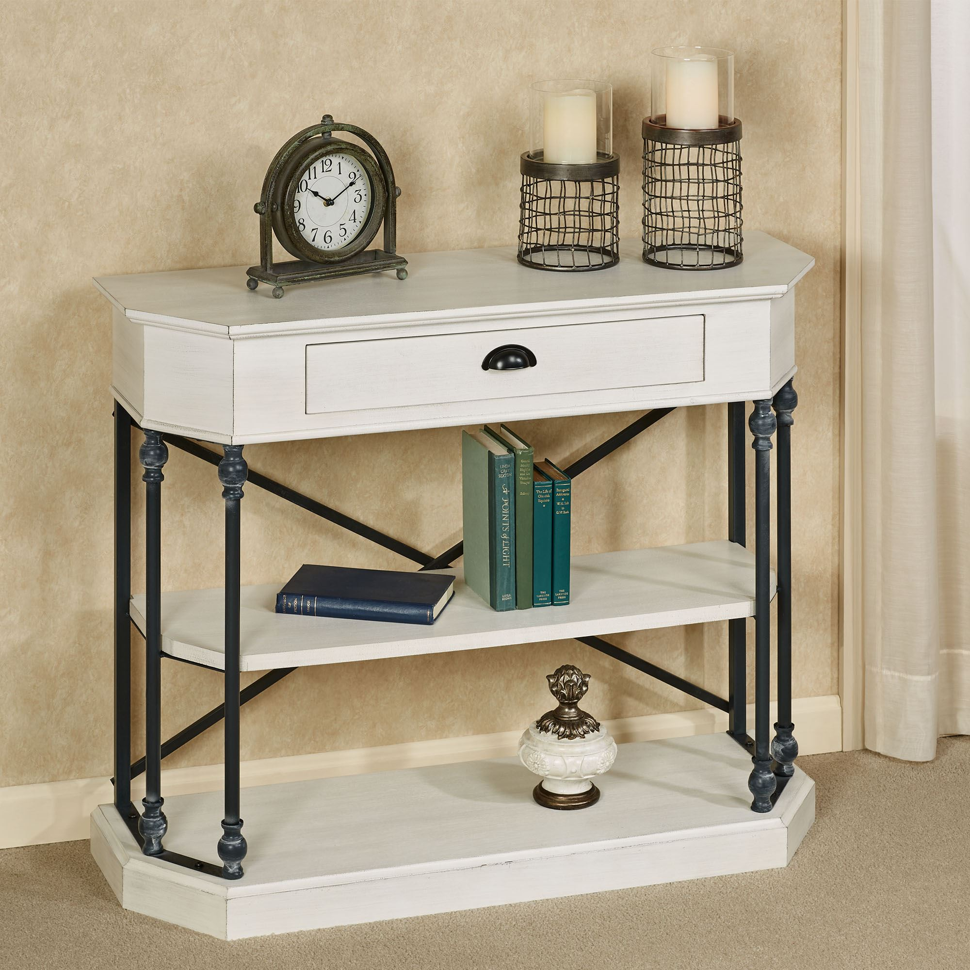 Picture of: Betaus Antique White And Black Console Table With Drawer