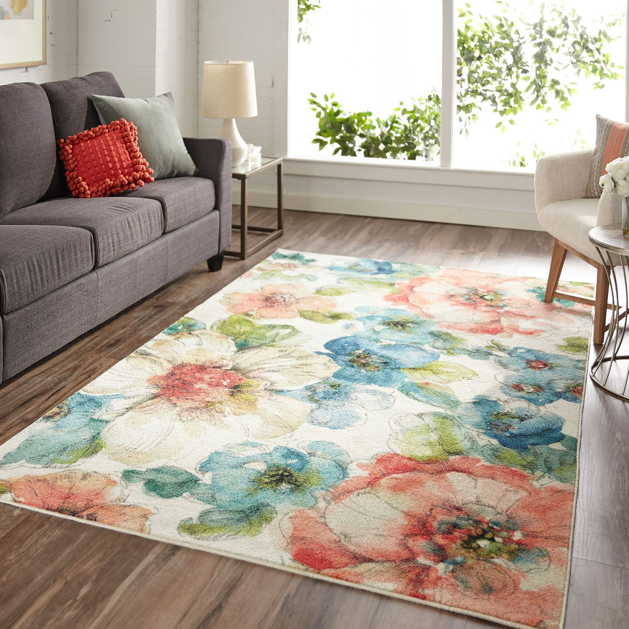 Picture of: Blooming Garden Everstrand Watercolor Floral Area Rugs