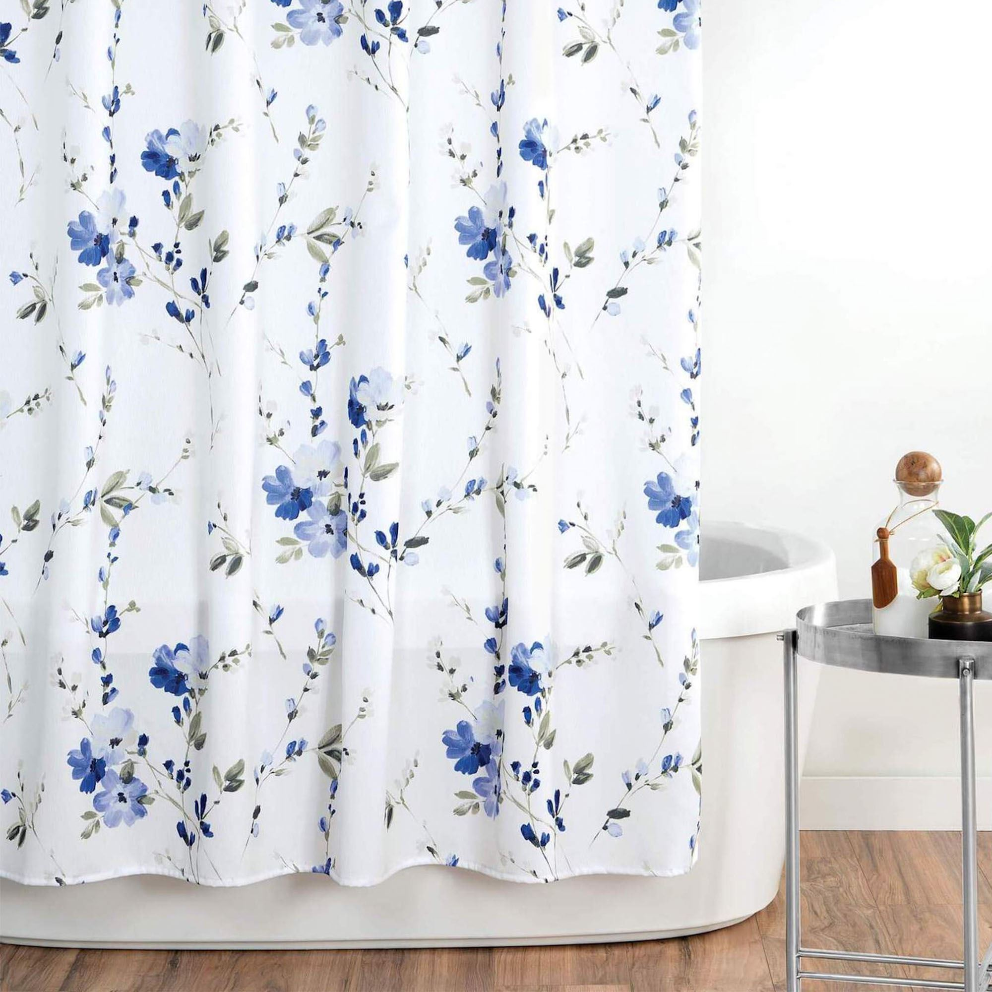 Charlotte White And Blue Floral Shower Curtain By Croscill