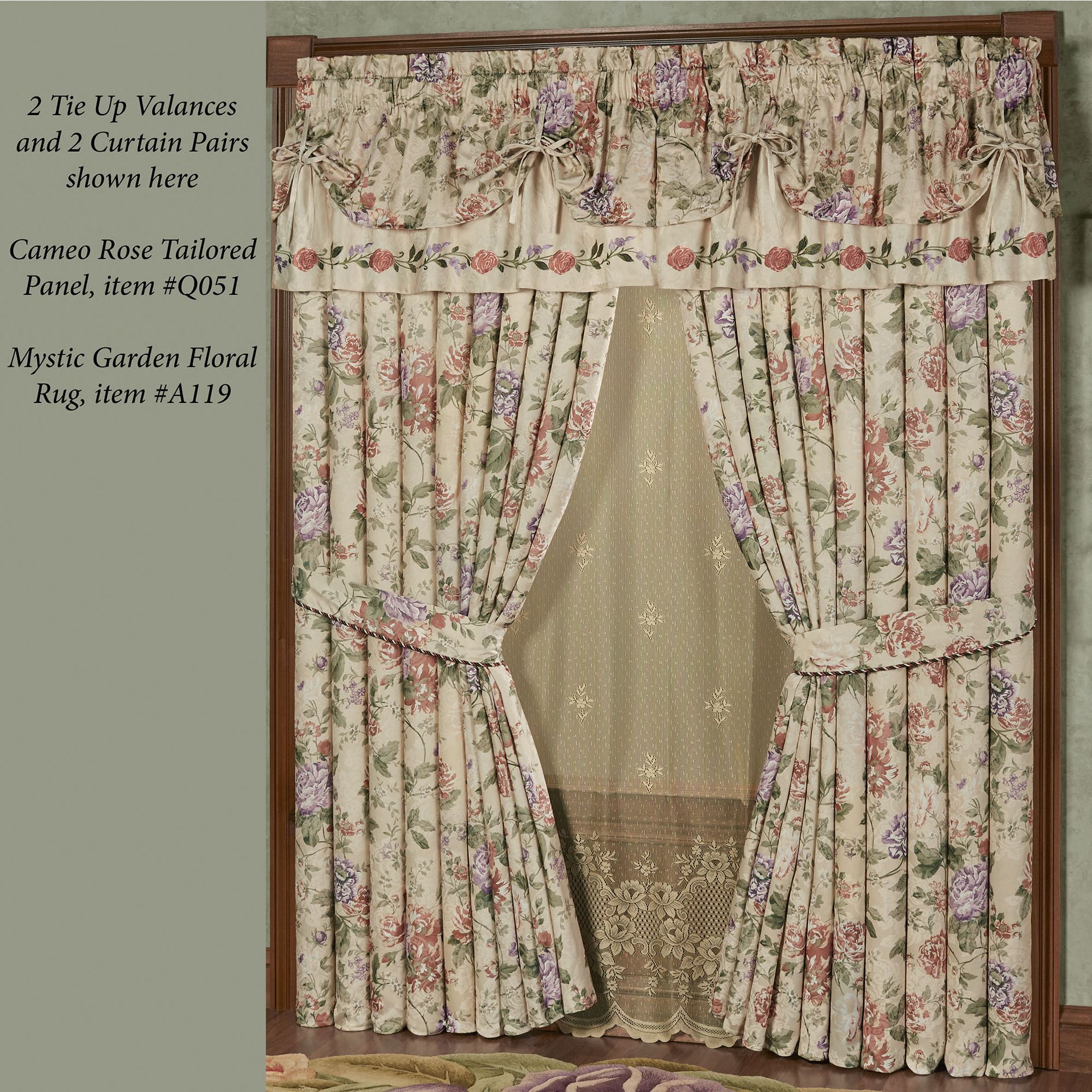 Meadow Floral Champagne Tie Up Valance Window Treatment