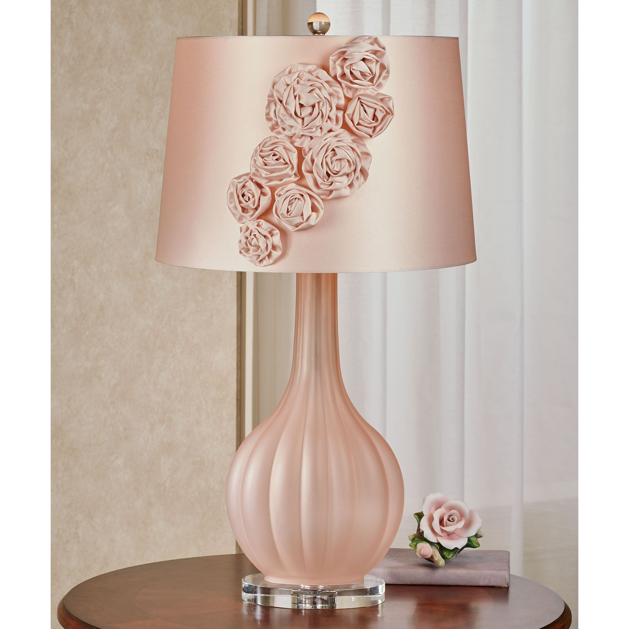 Picture of: Sarabeth Blush Frosted Glass Table Lamp With Fabric Flower Blossom Shade