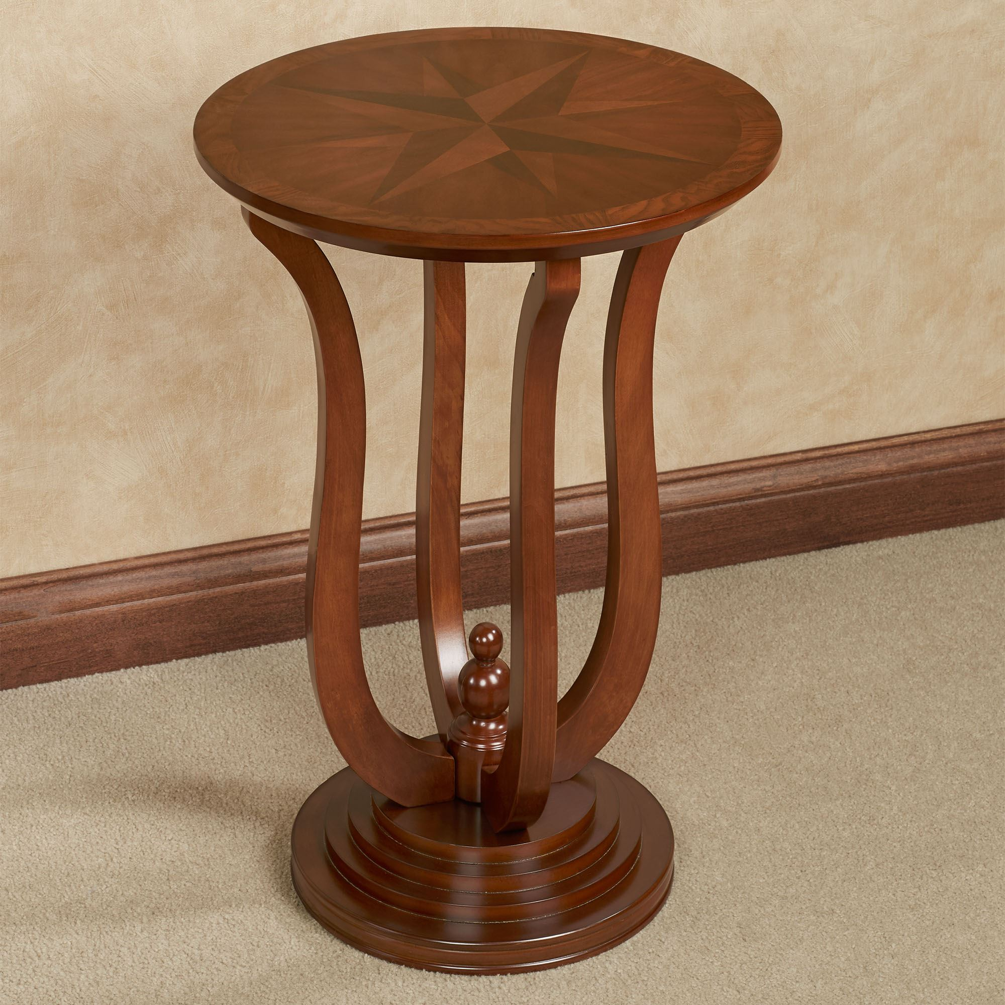 - Ethan Autumn Cherry Finished Round Wooden Accent Table With