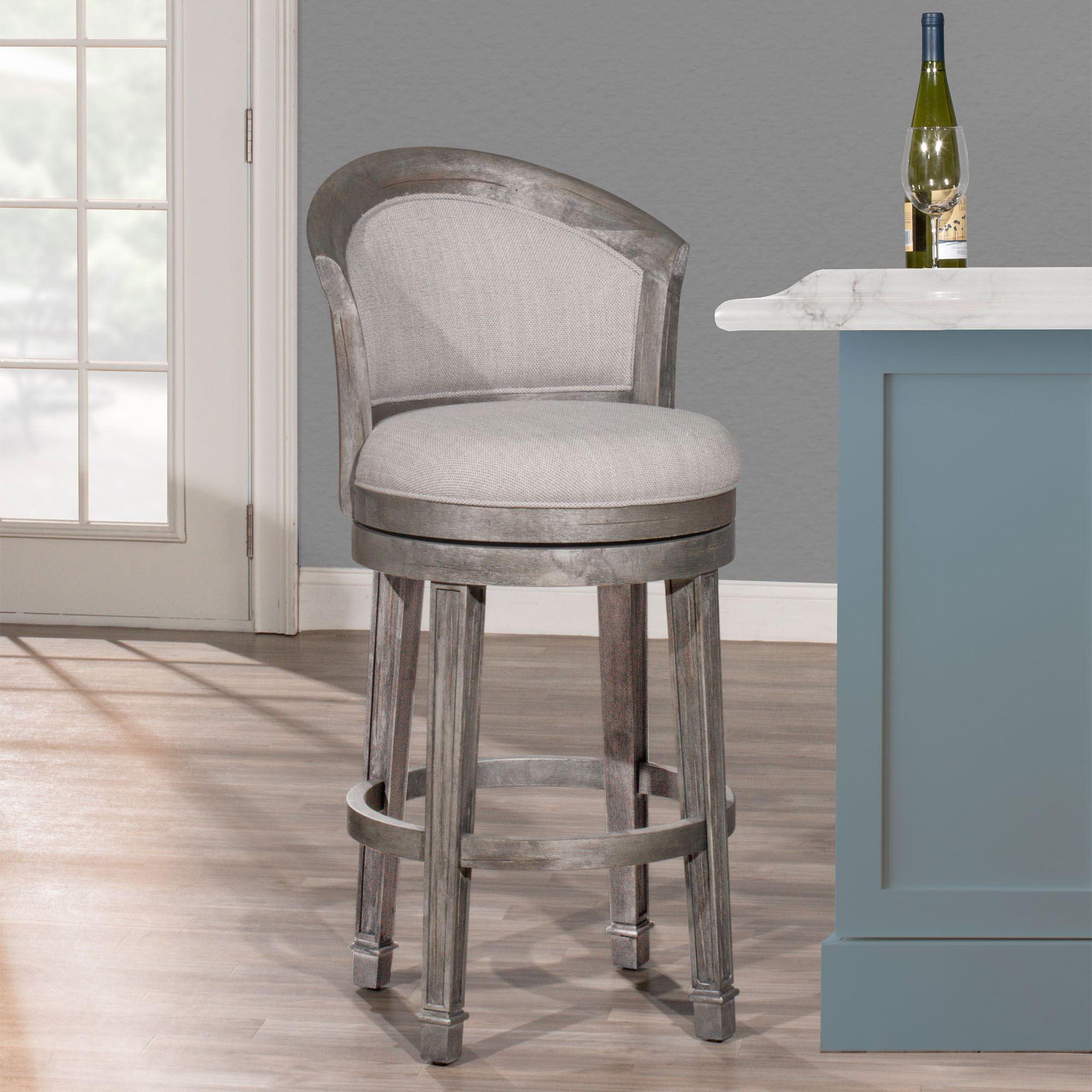 Upholstered Dark Gray Wooden Swivel Bar