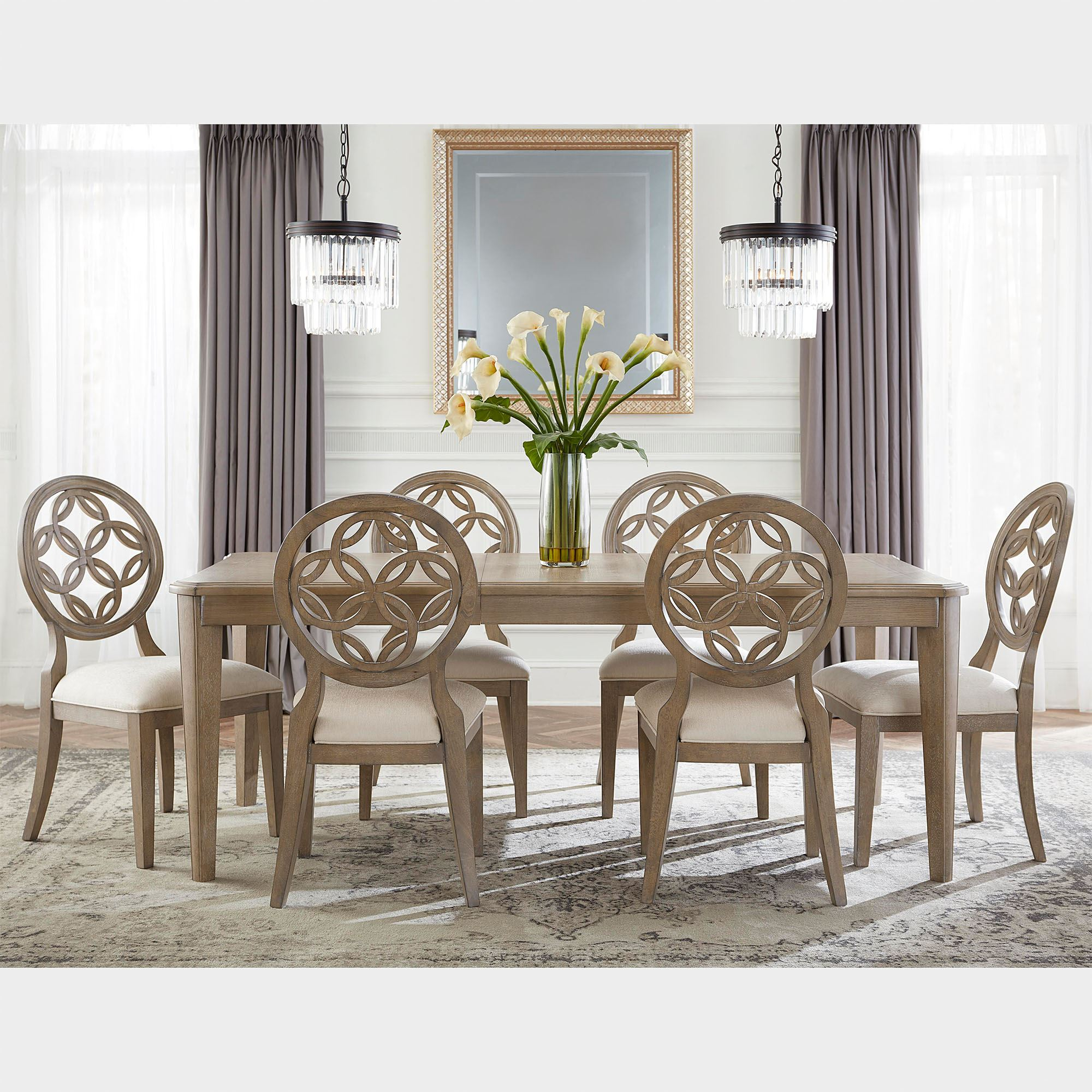 Hollace Wooden Rectangle Dining Table And Chairs 7 Pc Set