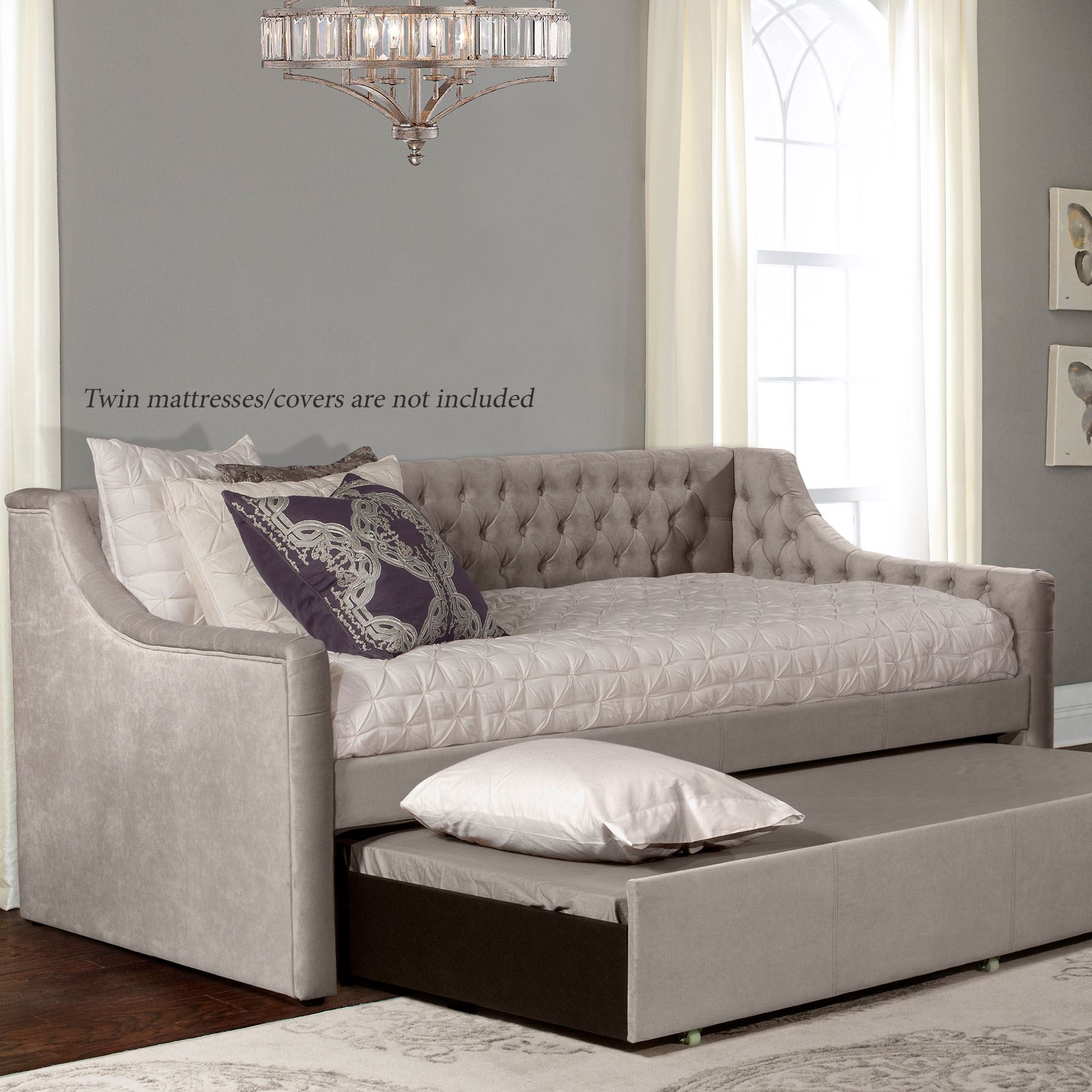 - Waterbury Gray Tufted Upholstered Daybed Frame With Trundle