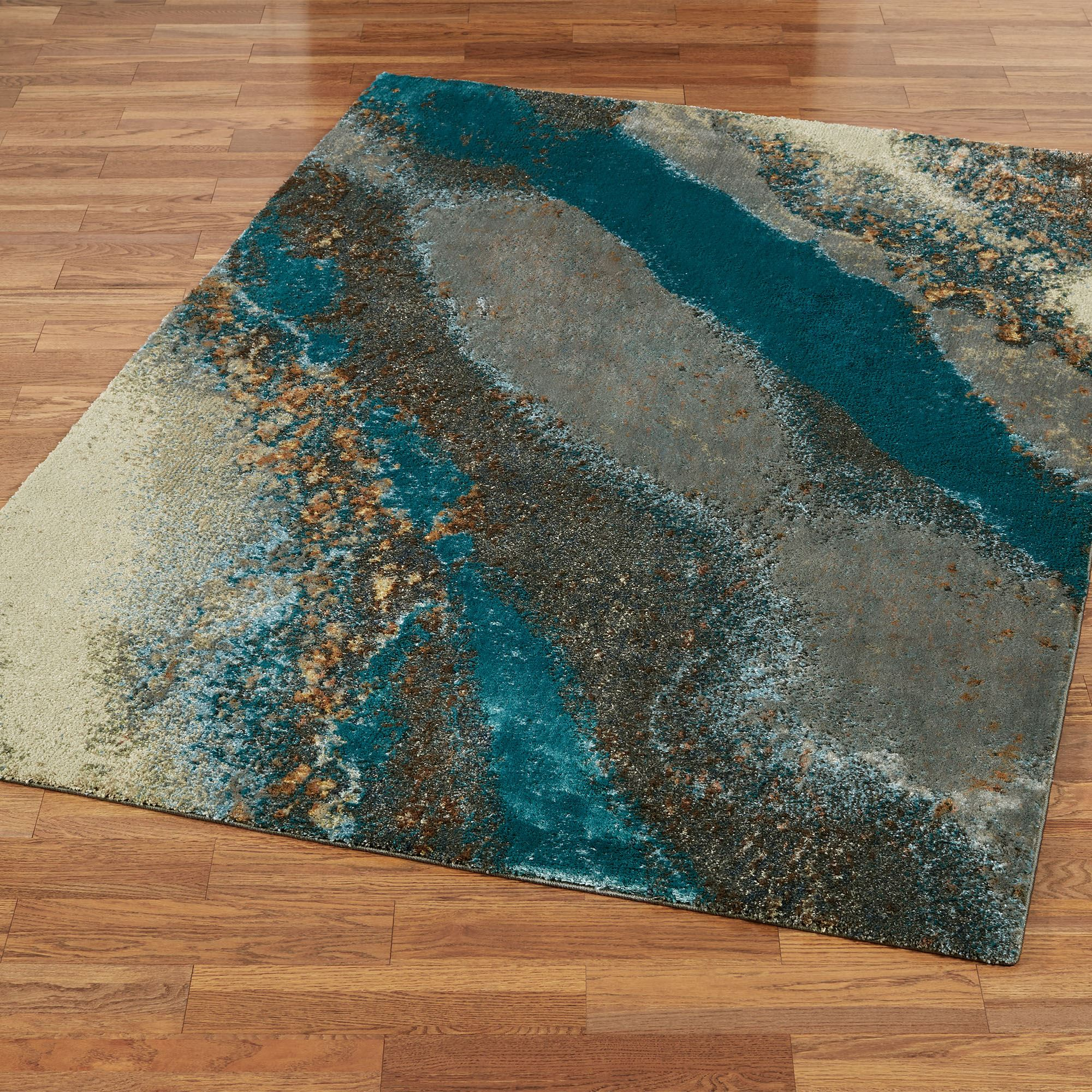 Creations Ii Dark Teal Cool Toned Abstract Area Rugs