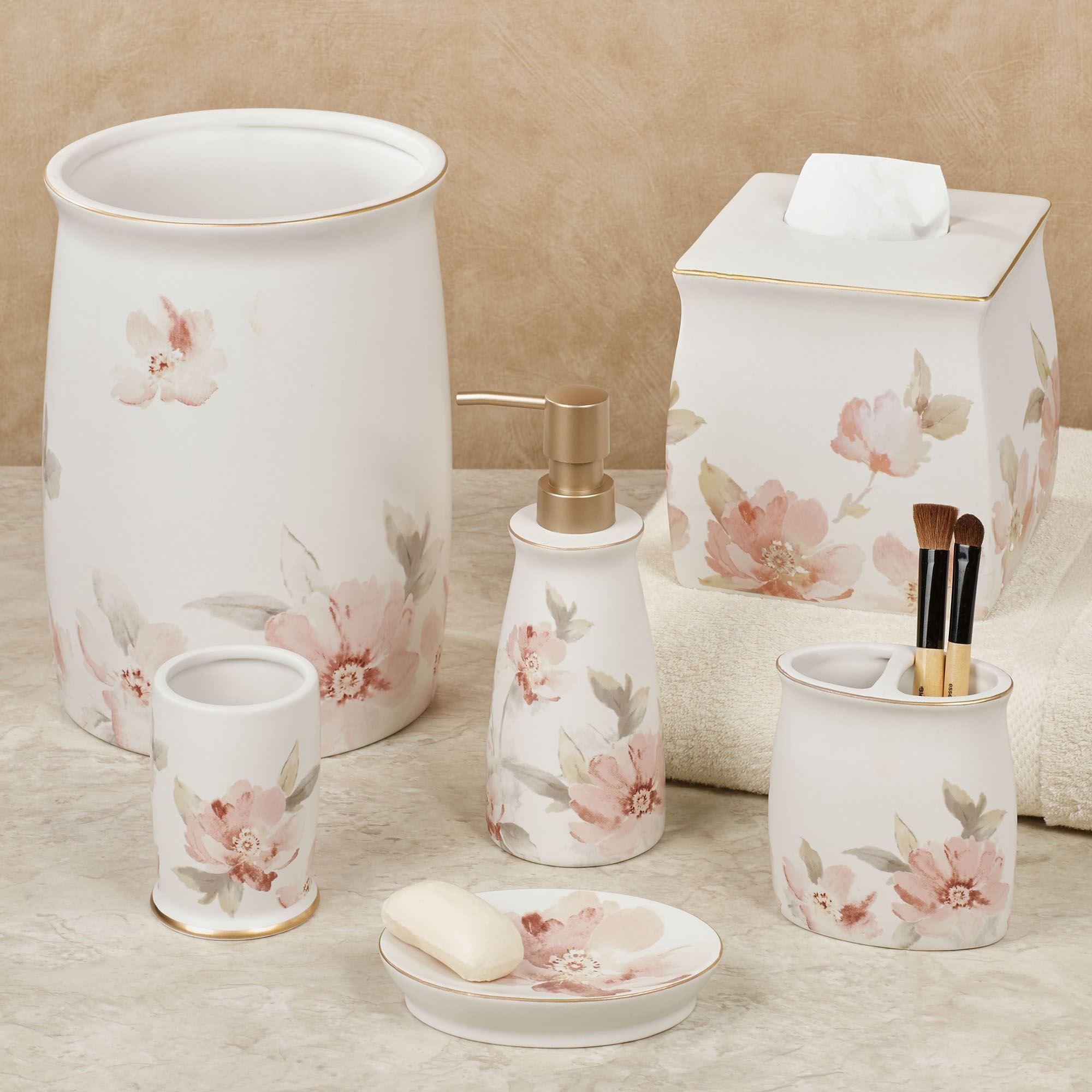 Misty Fl Ceramic Bath Accessories, Flower Bathroom Sets