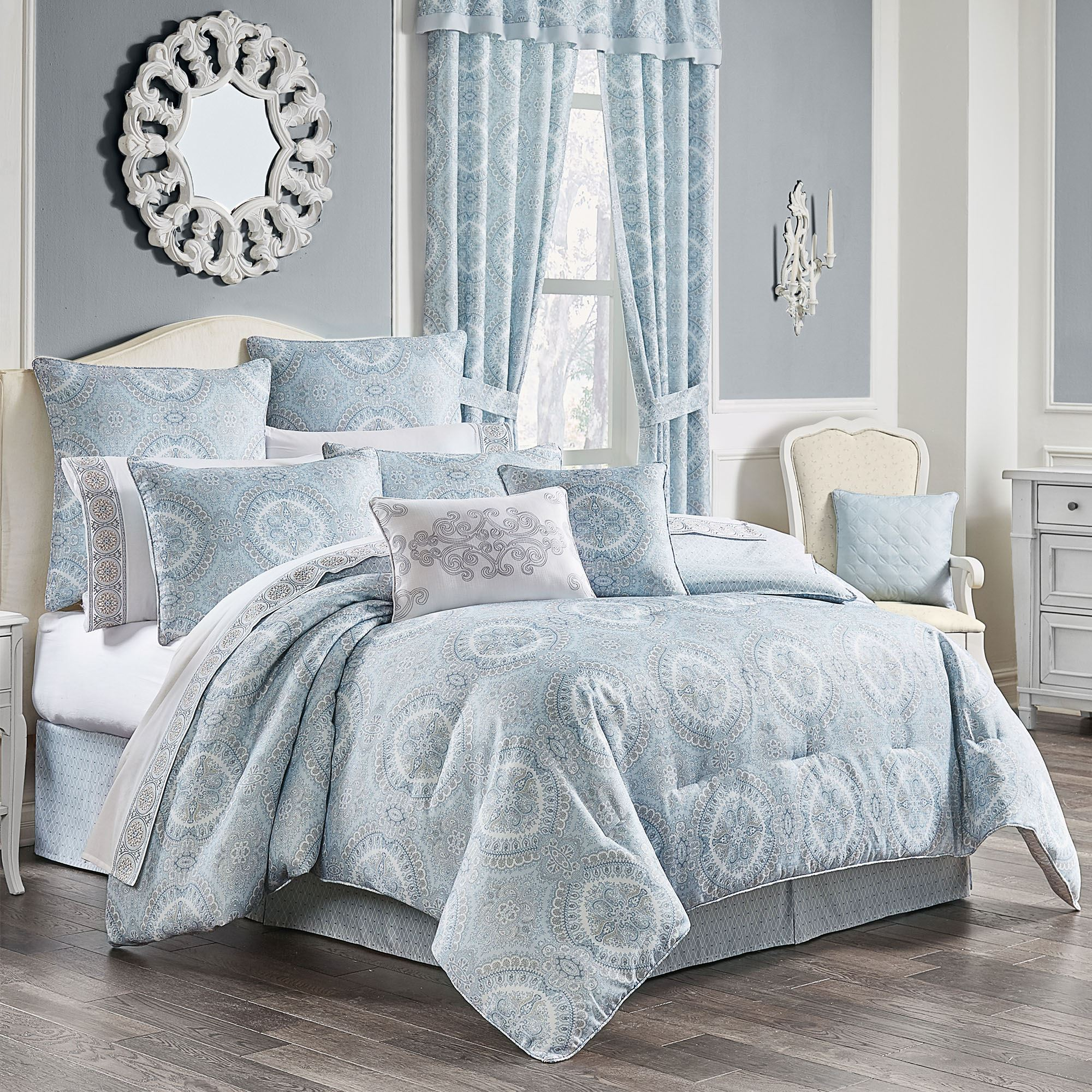 Claremont Medallion Powder Blue Comforter Bedding By Royal Court