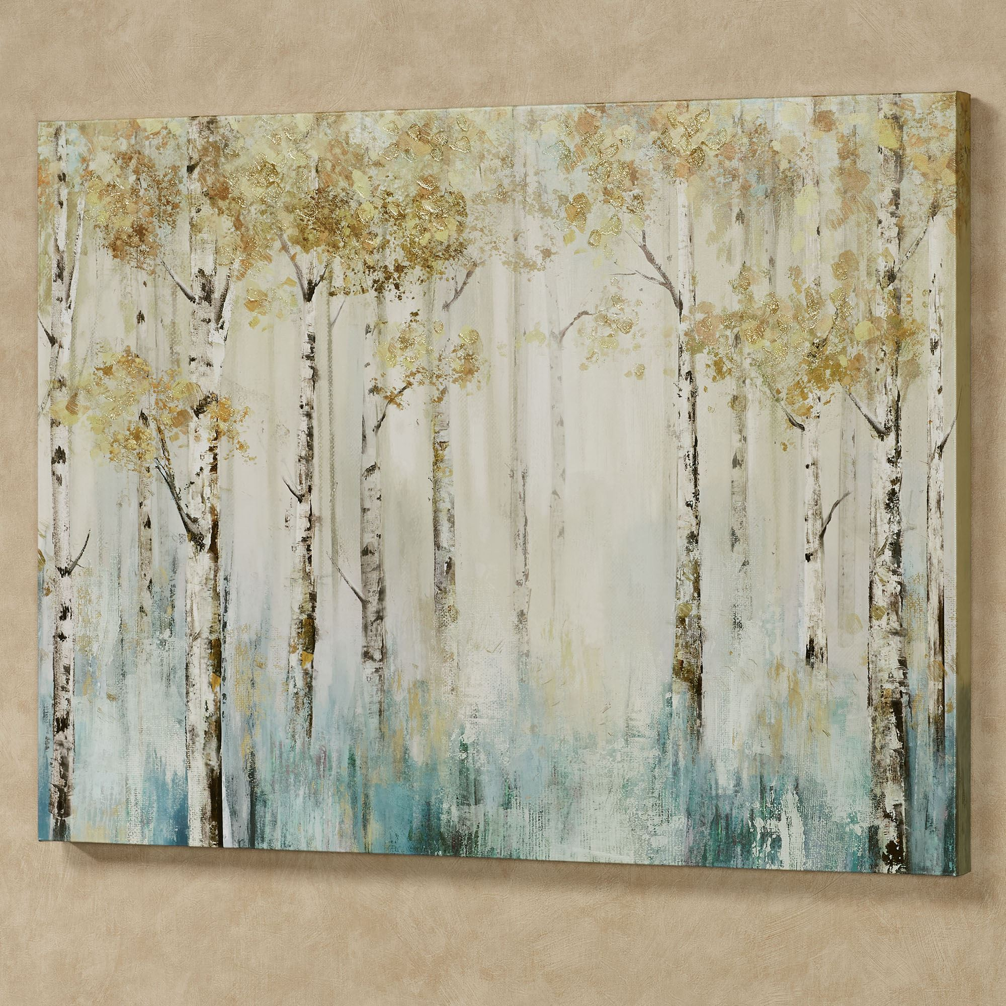 Leaves Of Gold Birch Tree Forest Nature Canvas Wall Art