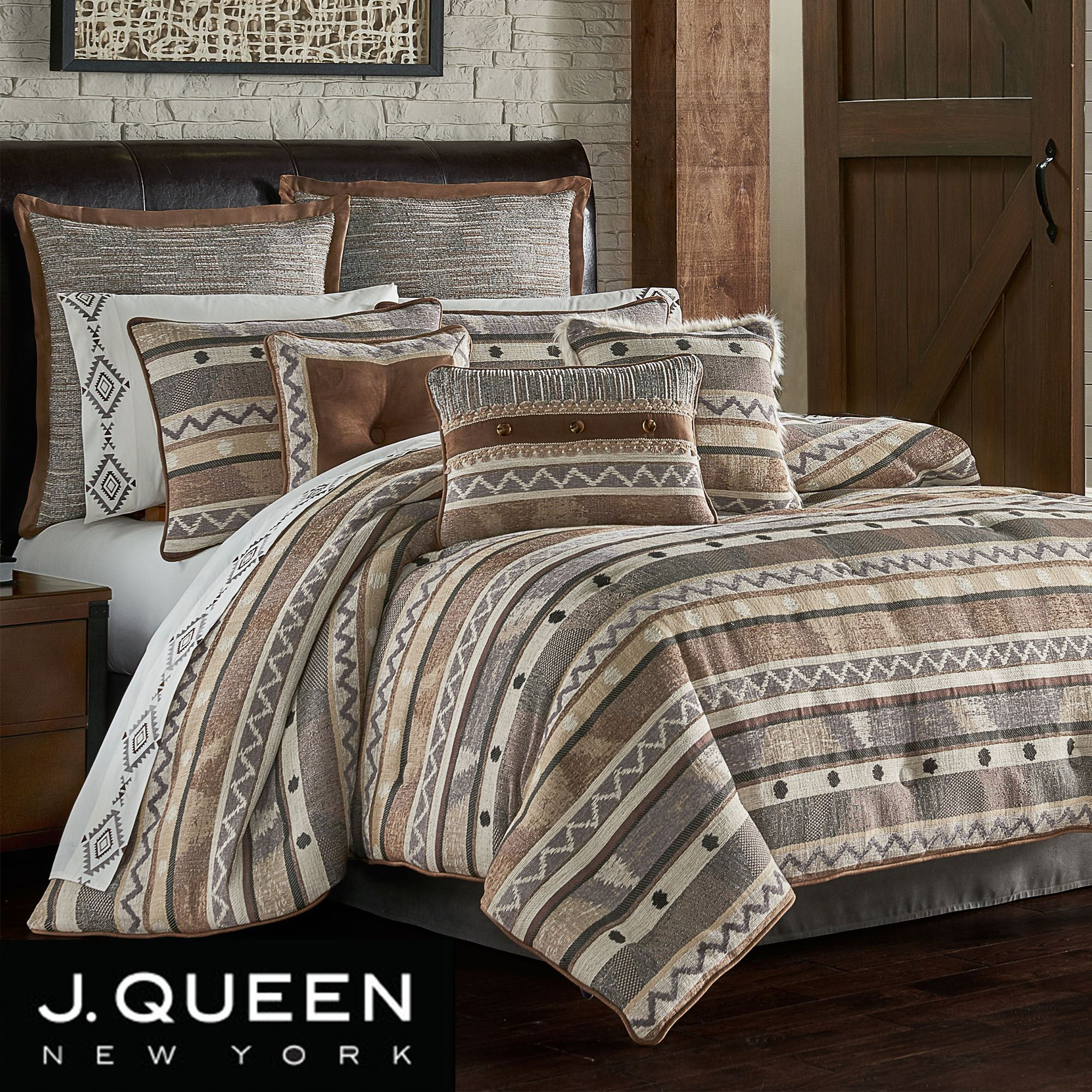 Timber Striped Rustic Comforter Bedding By J Queen New York