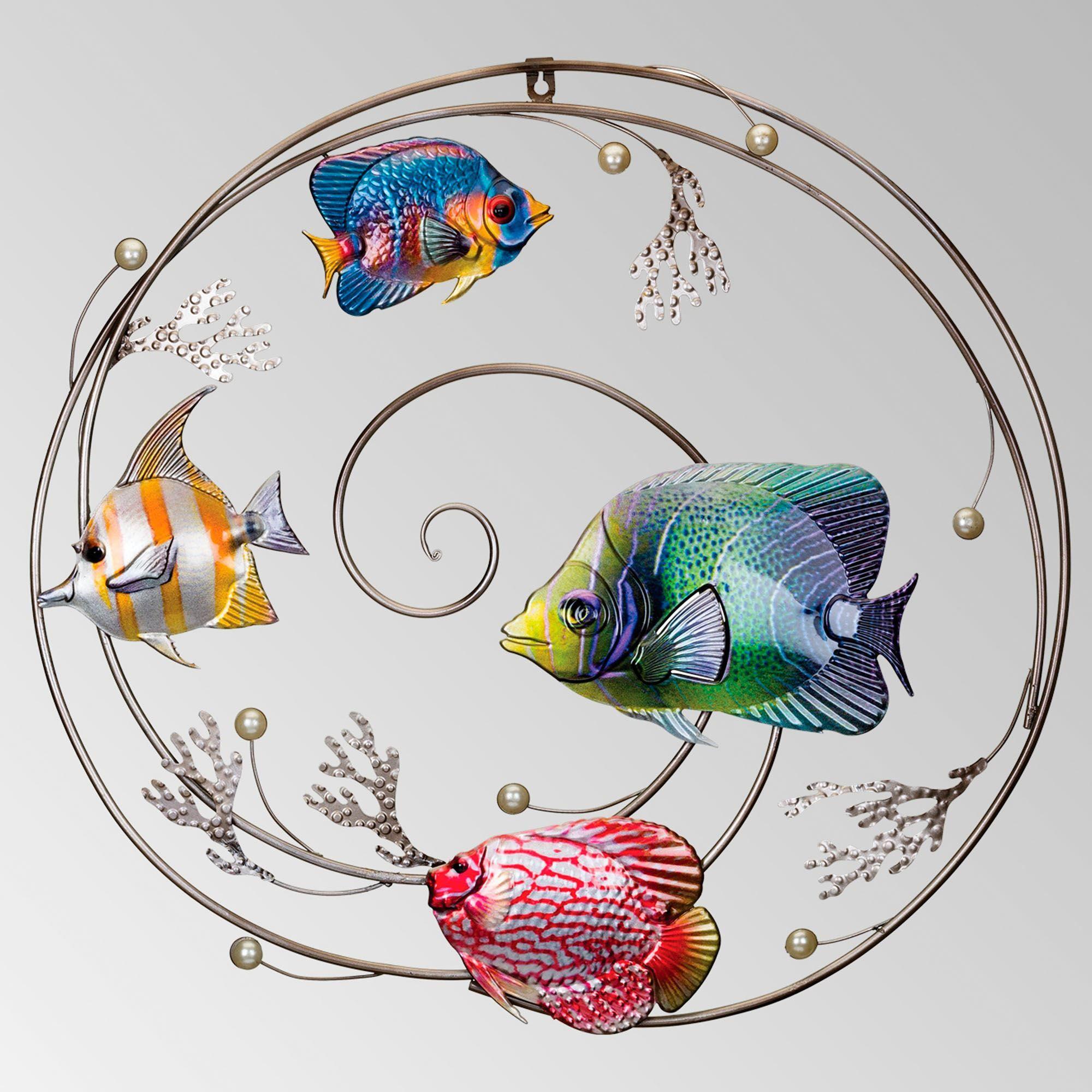 Tropical Fish Indoor Outdoor Metal Wall Art