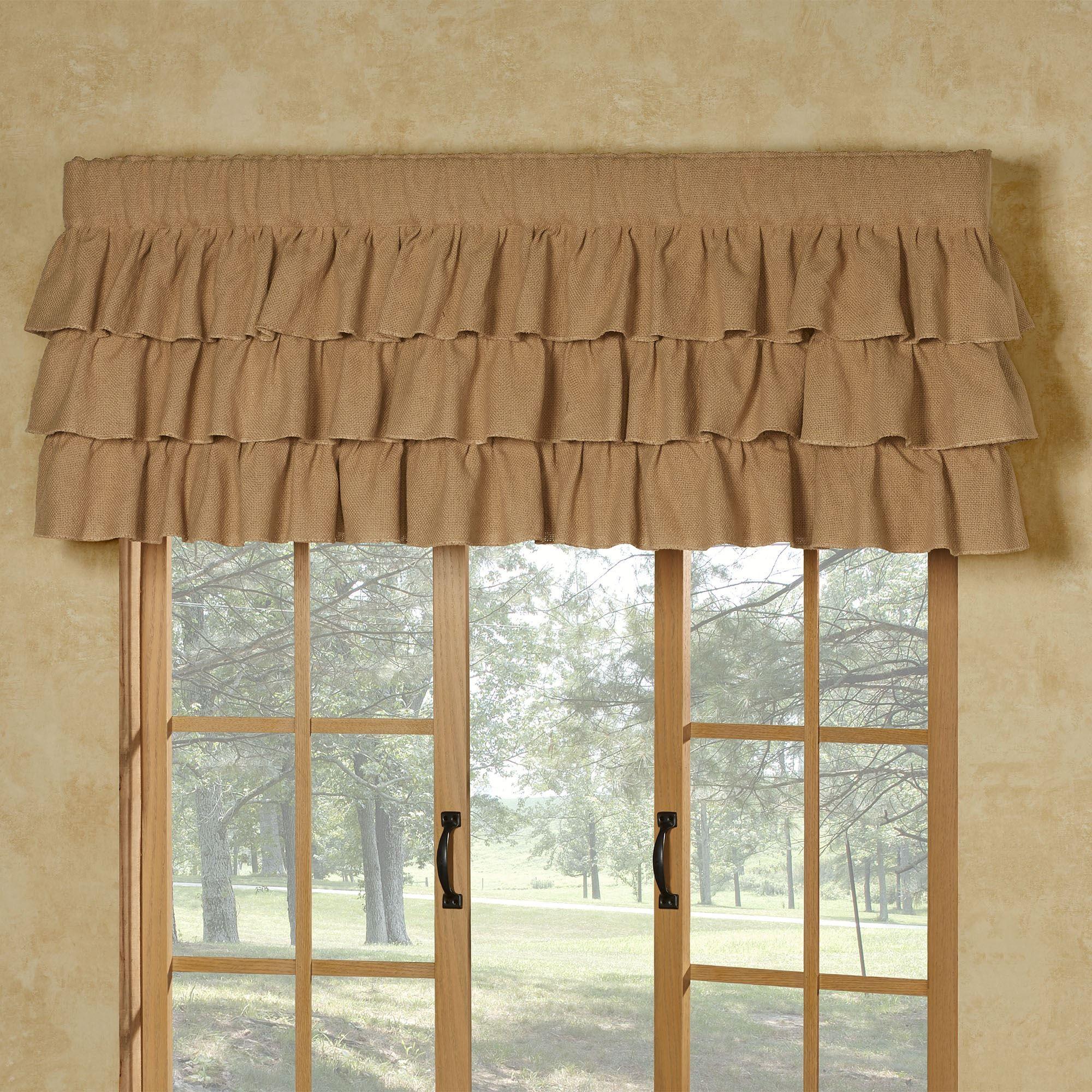 Prairie Mill Farmhouse Style Cotton Burlap Ruffled Window Valance