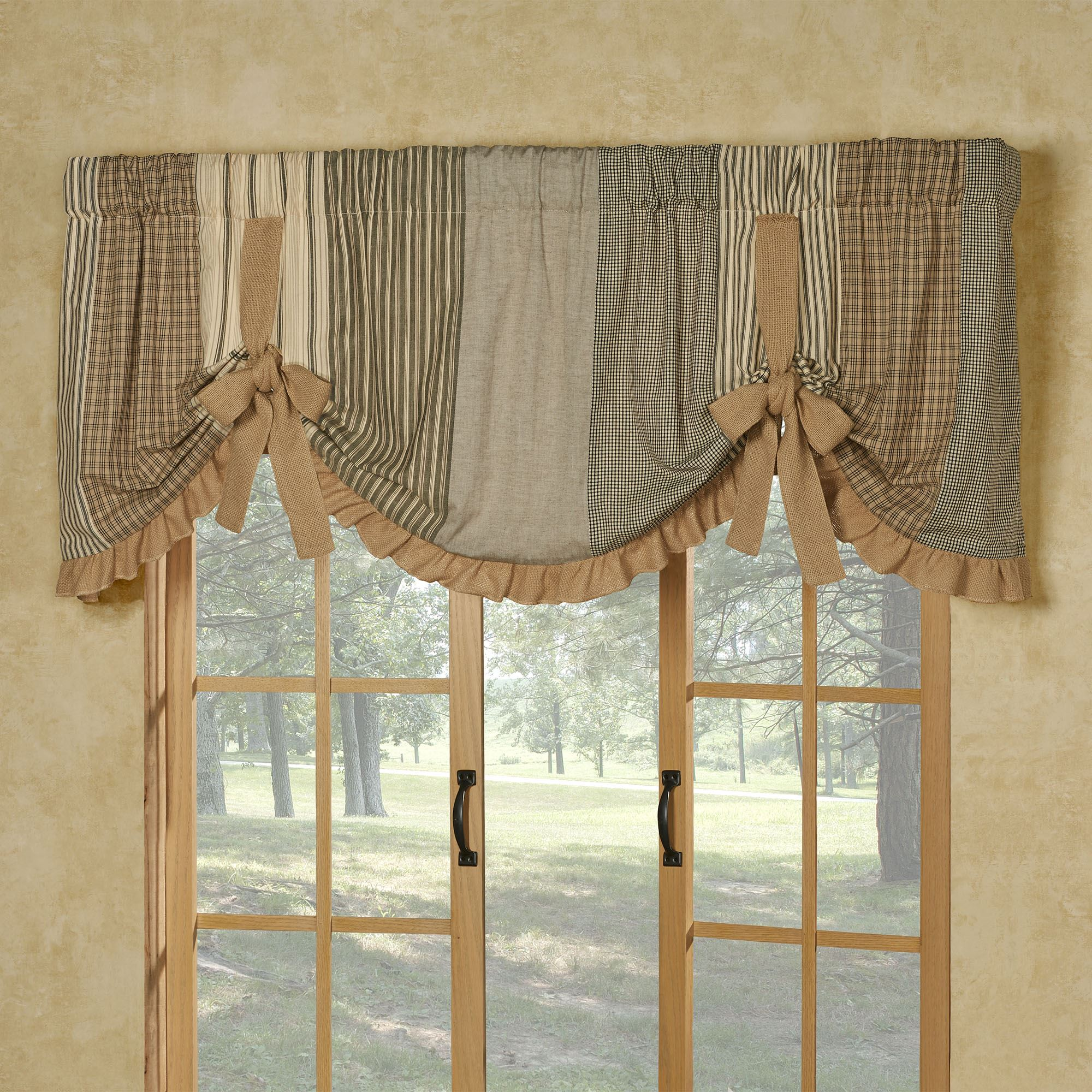 Prairie Mill Farmhouse Style Tie Up Window Valance