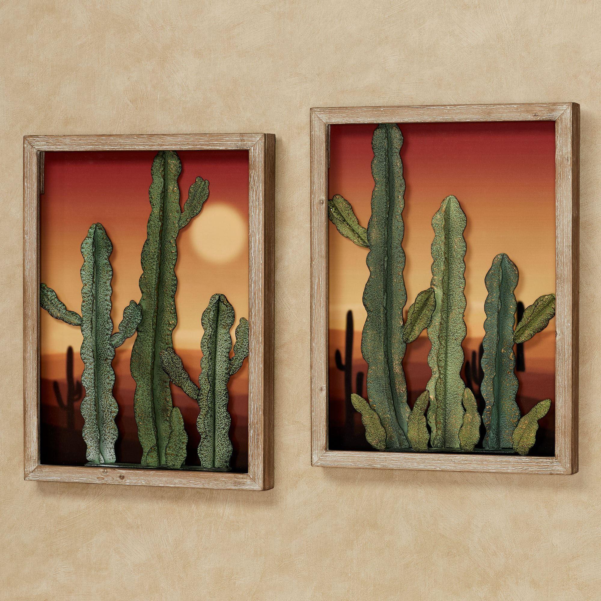 Desert At Sunset Southwest Cactus Wall Art Set