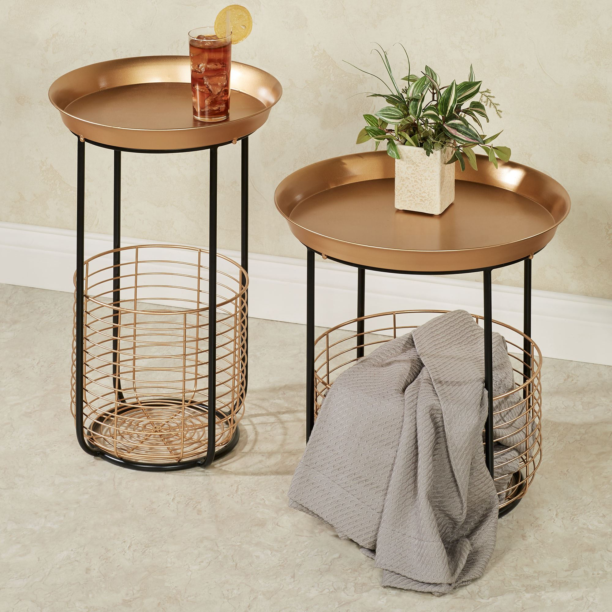 - Macayle Round Metal Accent Tables With Wire Storage Baskets Set