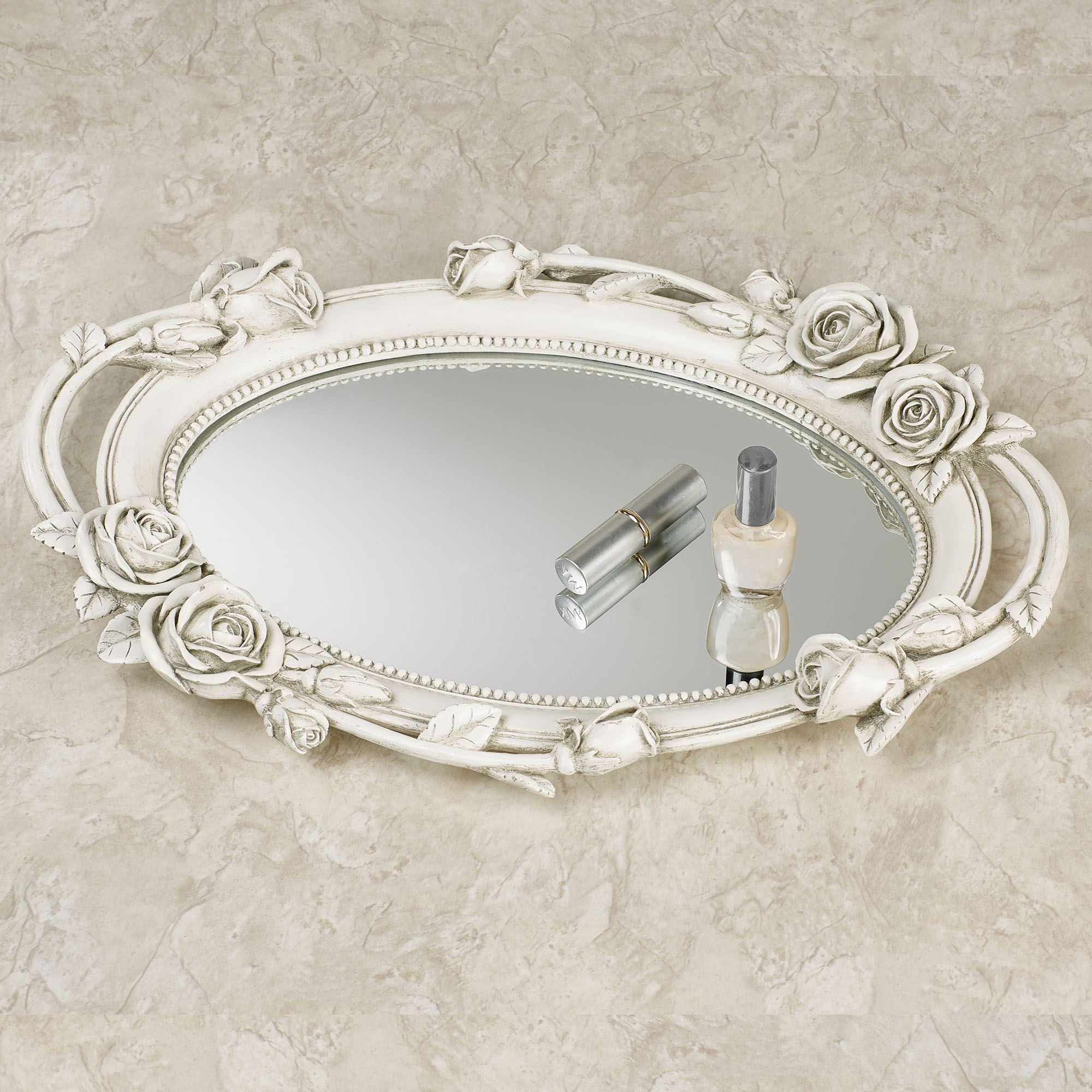 Rose Melody Antique White Floral Mirrored Vanity Tray