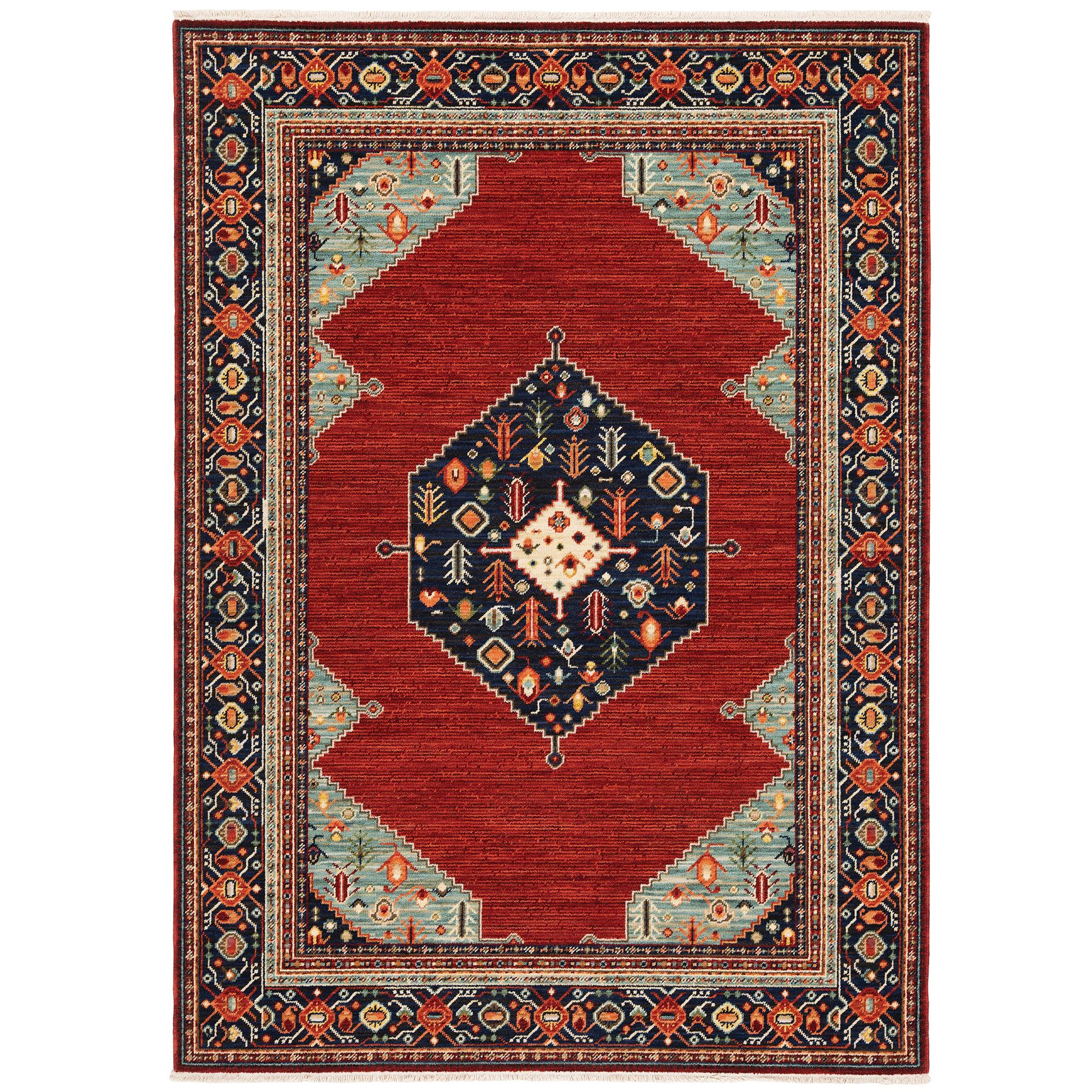 Arkham Red Persian Style Fringed Area Rugs