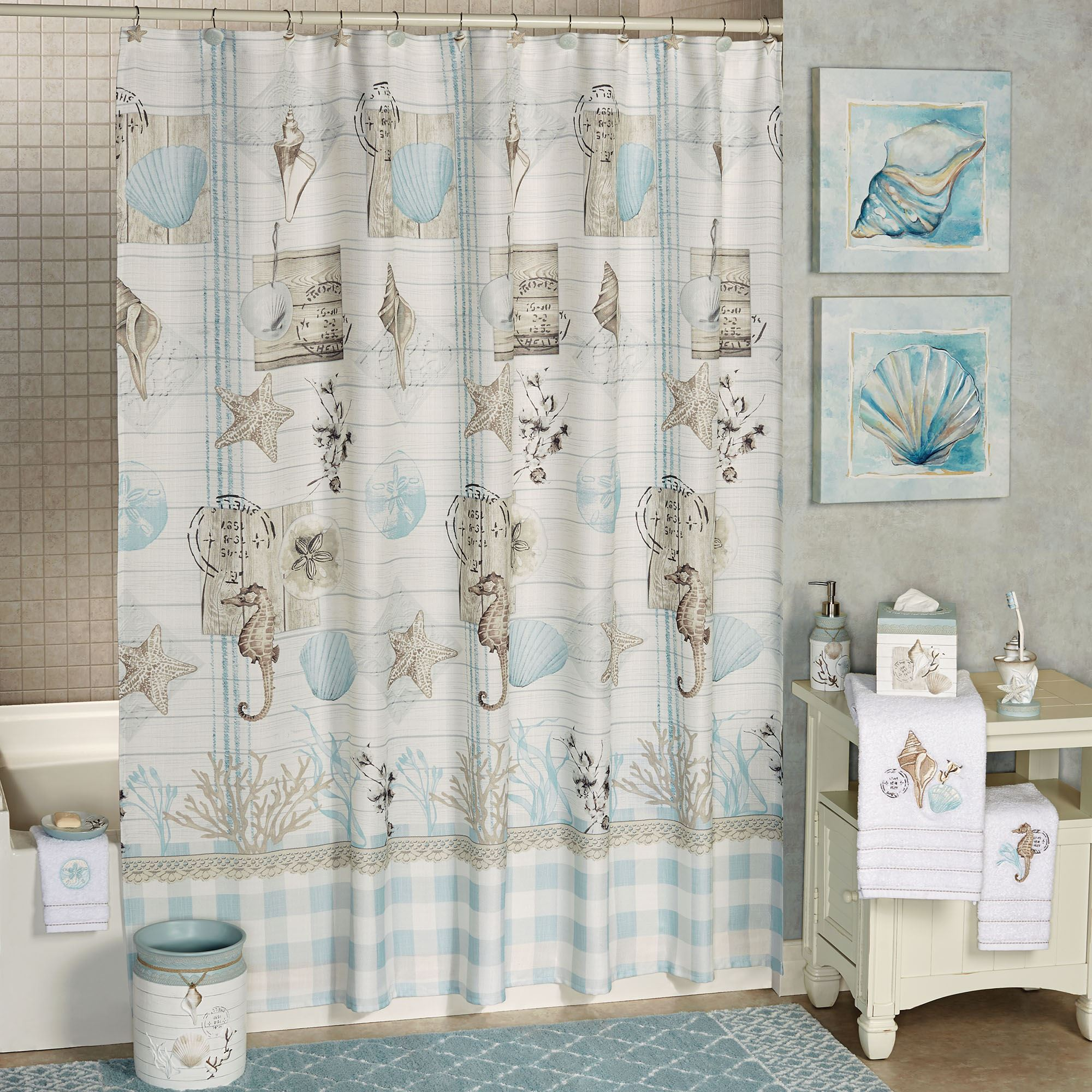 Farmhouse Shell Coastal Shower Curtain