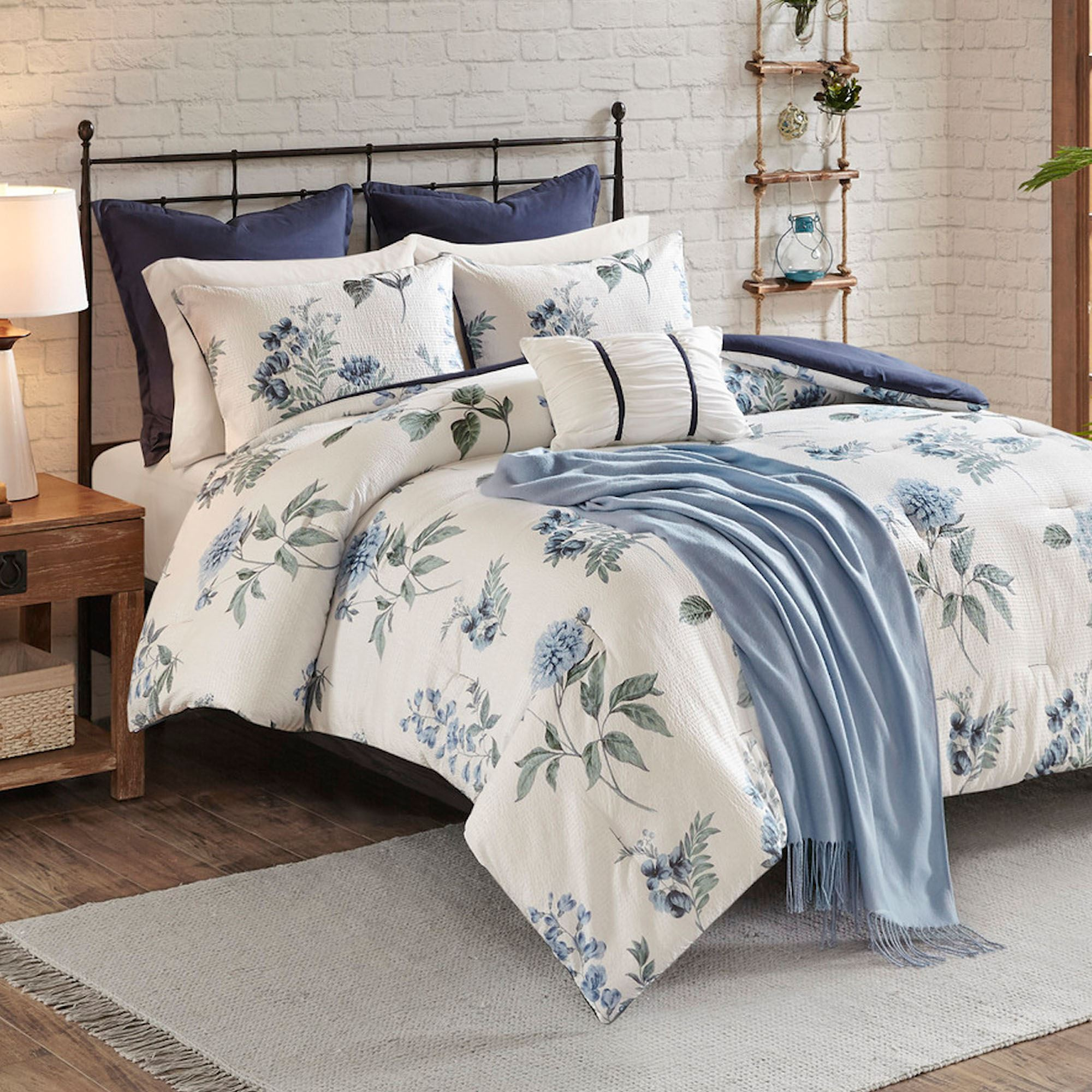 Zennia Blue Floral 7 Pc Comforter Bed Set From Madison Park