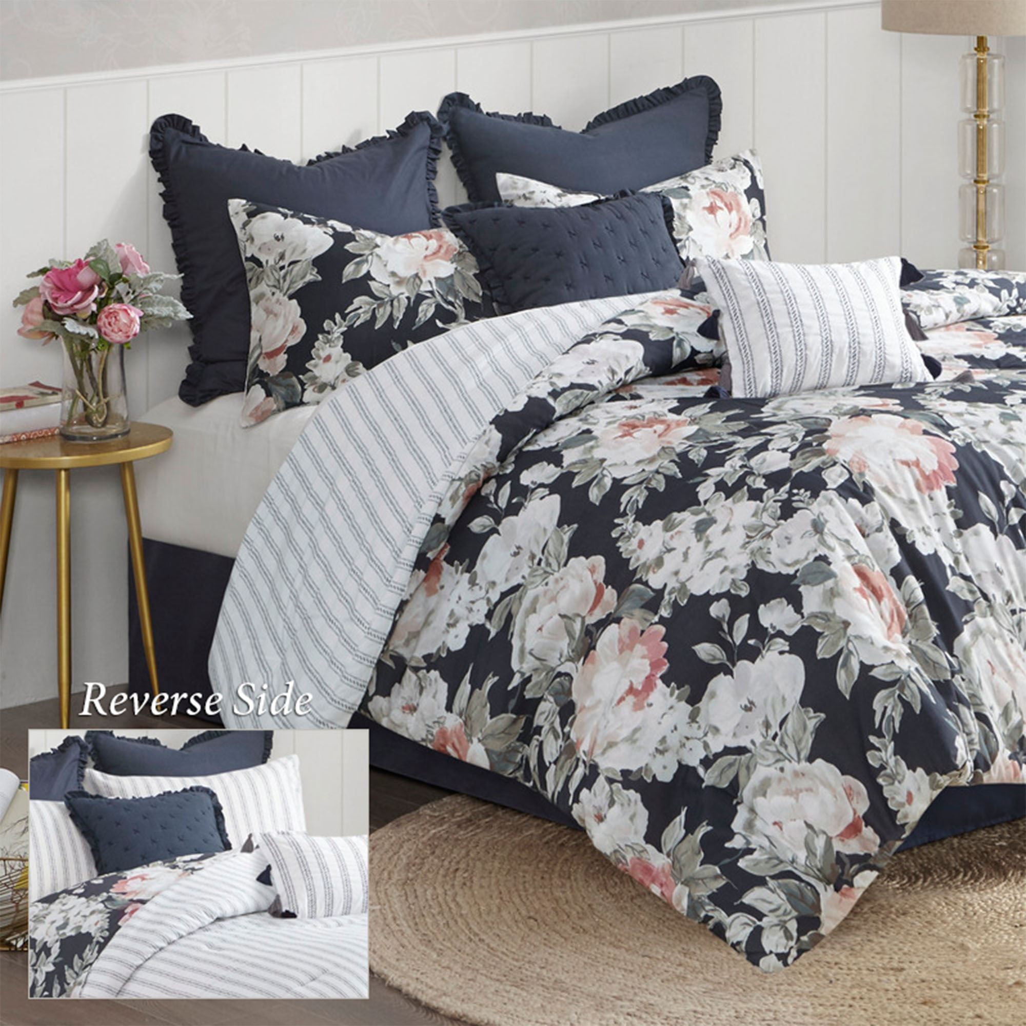 Mavis Reversible Dark Blue Floral 8 Pc Comforter Bed Set By Madison Park