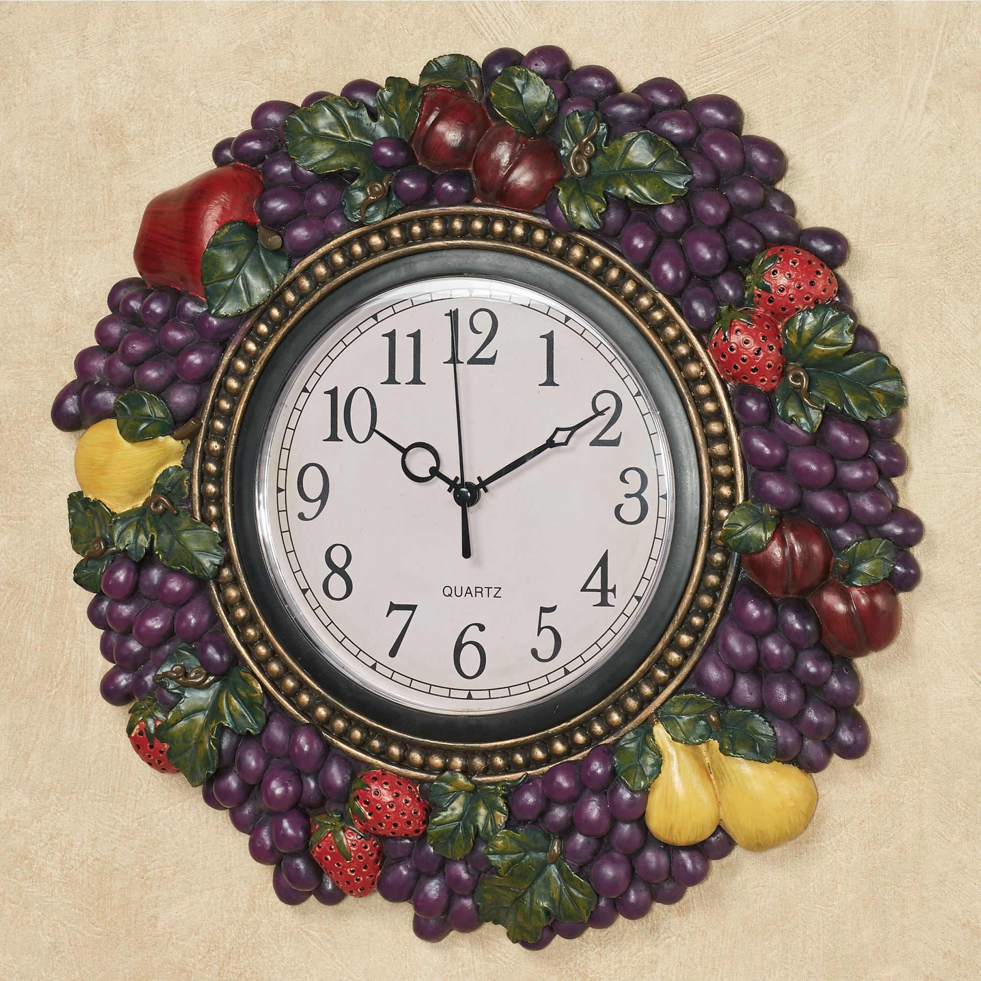 Tuscan Fruit Grapes Kitchen Dining Wall Clock