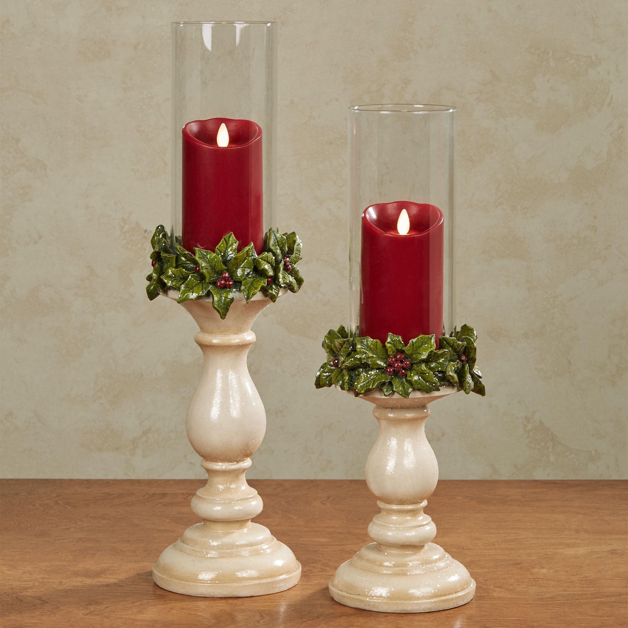 Christmas Holly Hurricane Candleholder Set