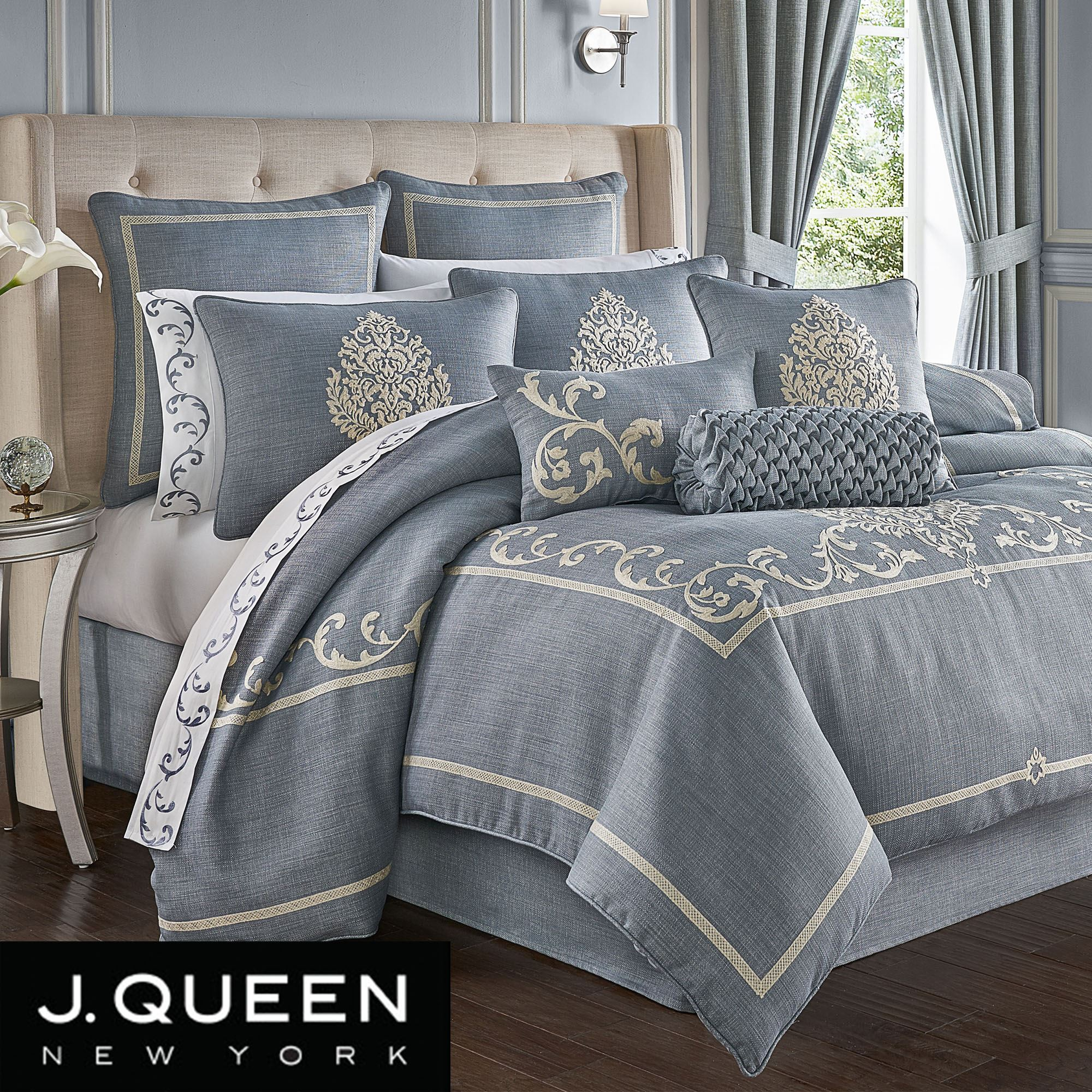 Aurora Scroll Slate Blue Comforter Bedding By J Queen New York