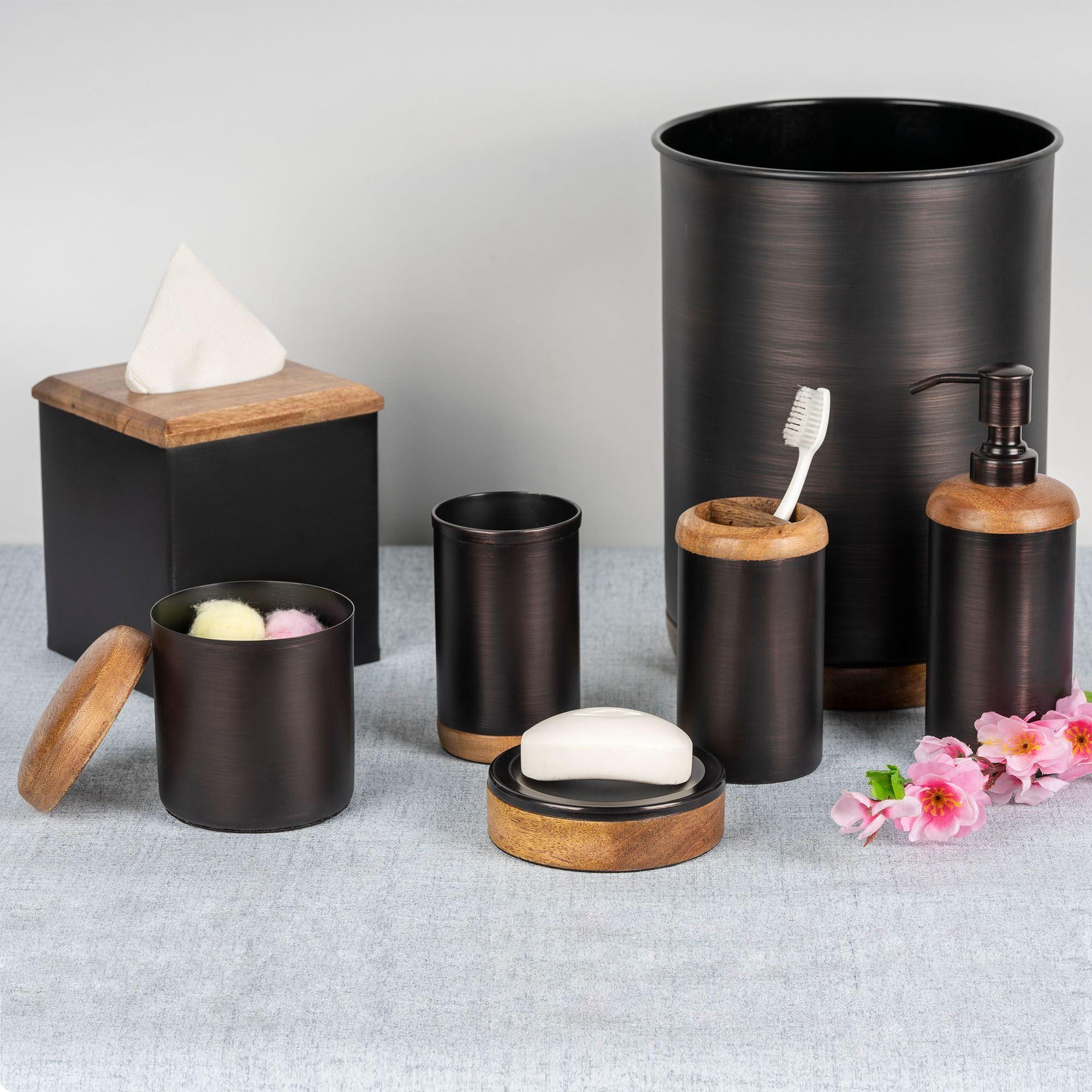 Salem Bronze Finished Steel And Mango Wood Bath Accessories