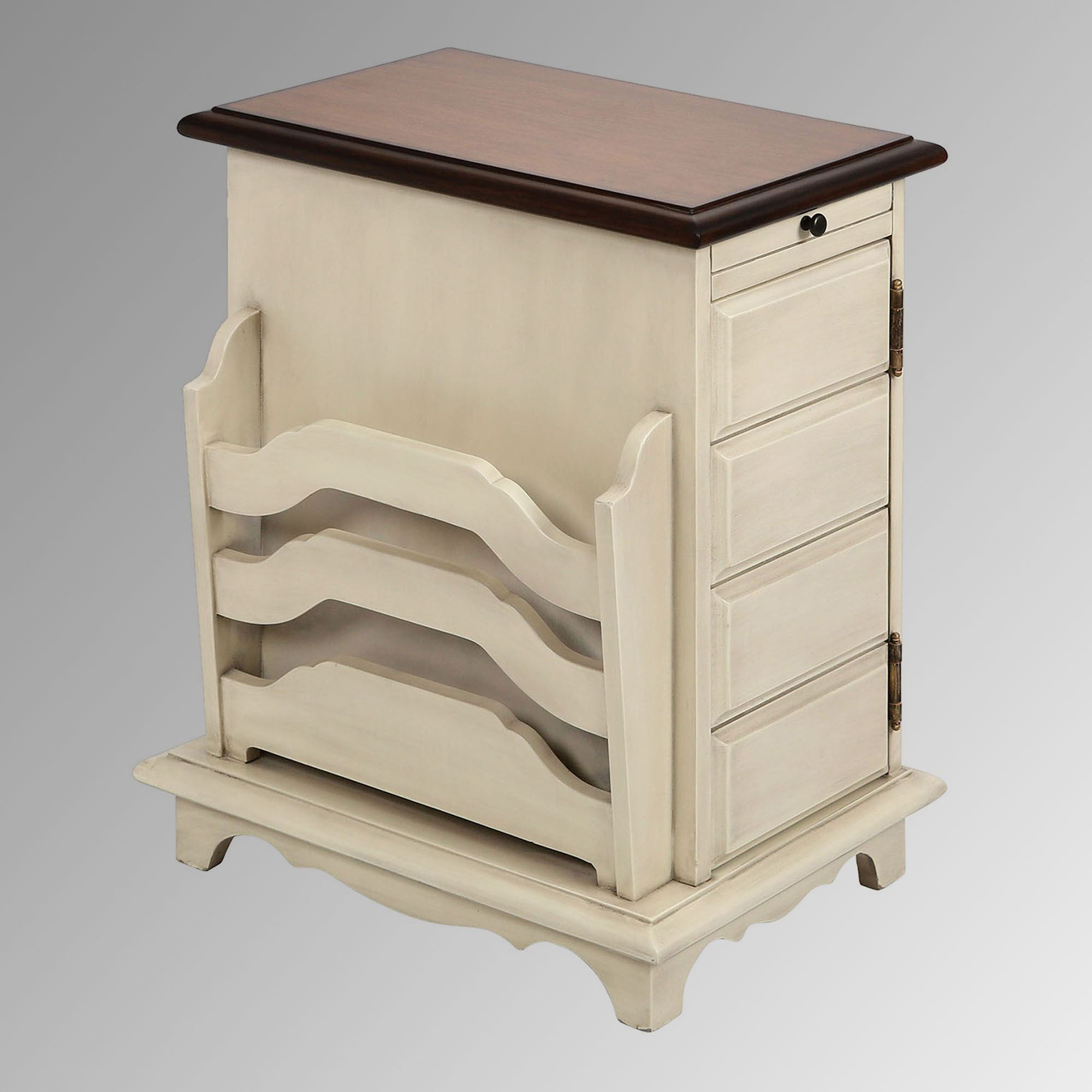 Orsola Antique Cream Wood Chairside Storage Table With