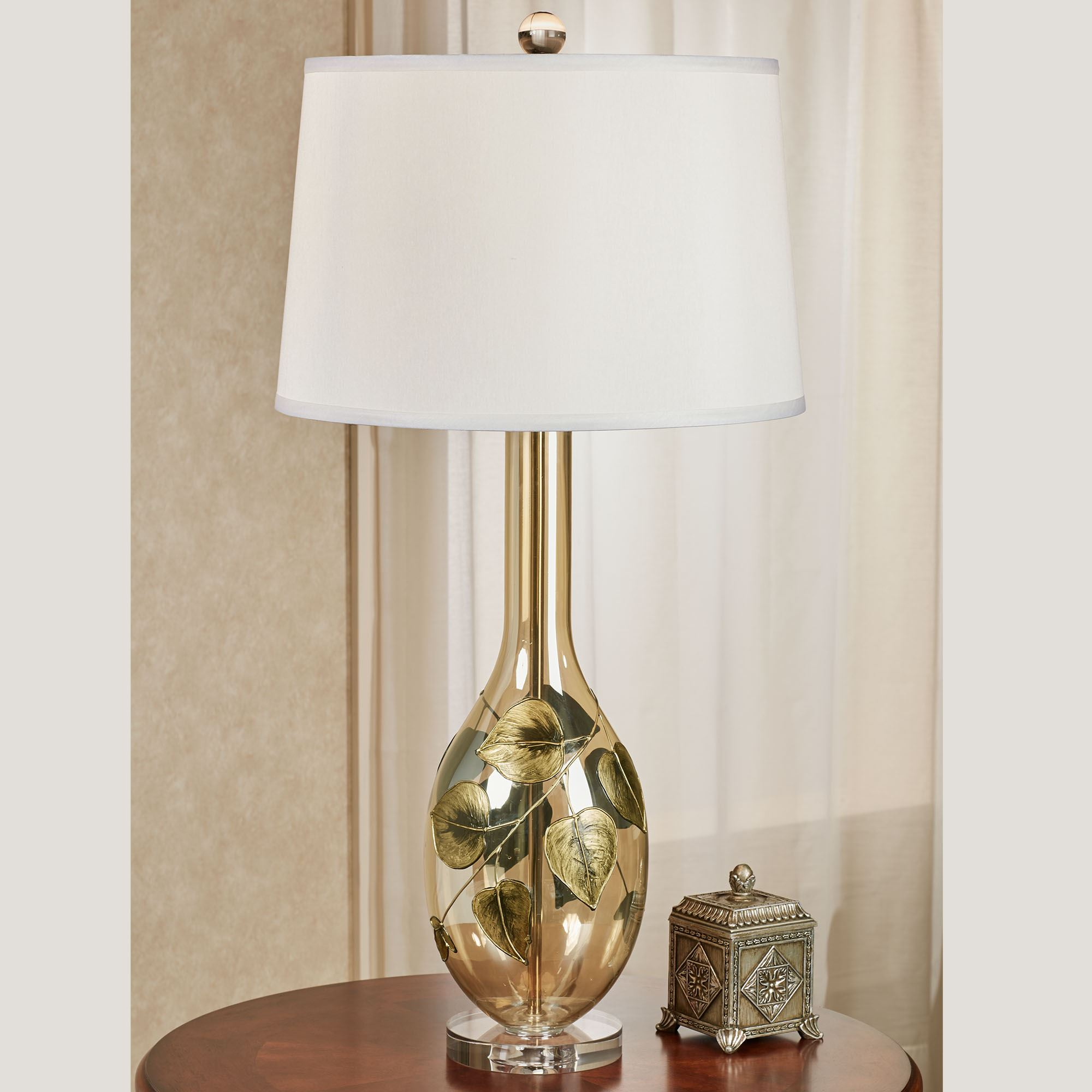 Rustic Leaves Crystal and Metal Table Lamp