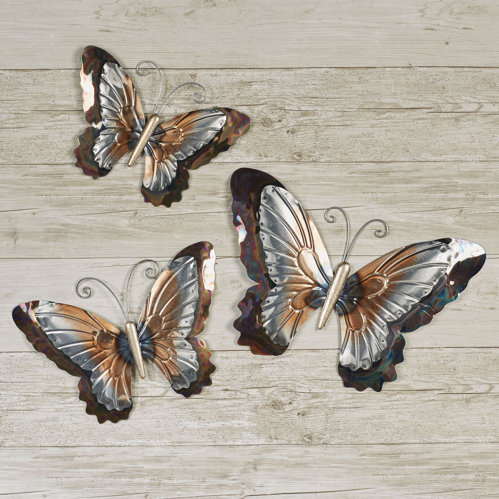 Hanizi 3 Pack Large Metal Butterfly Wall Decoration 9 5 X 7 1 Inch Indoor Outdoor Wall Sculptures Home Kitchen Wall Sculptures