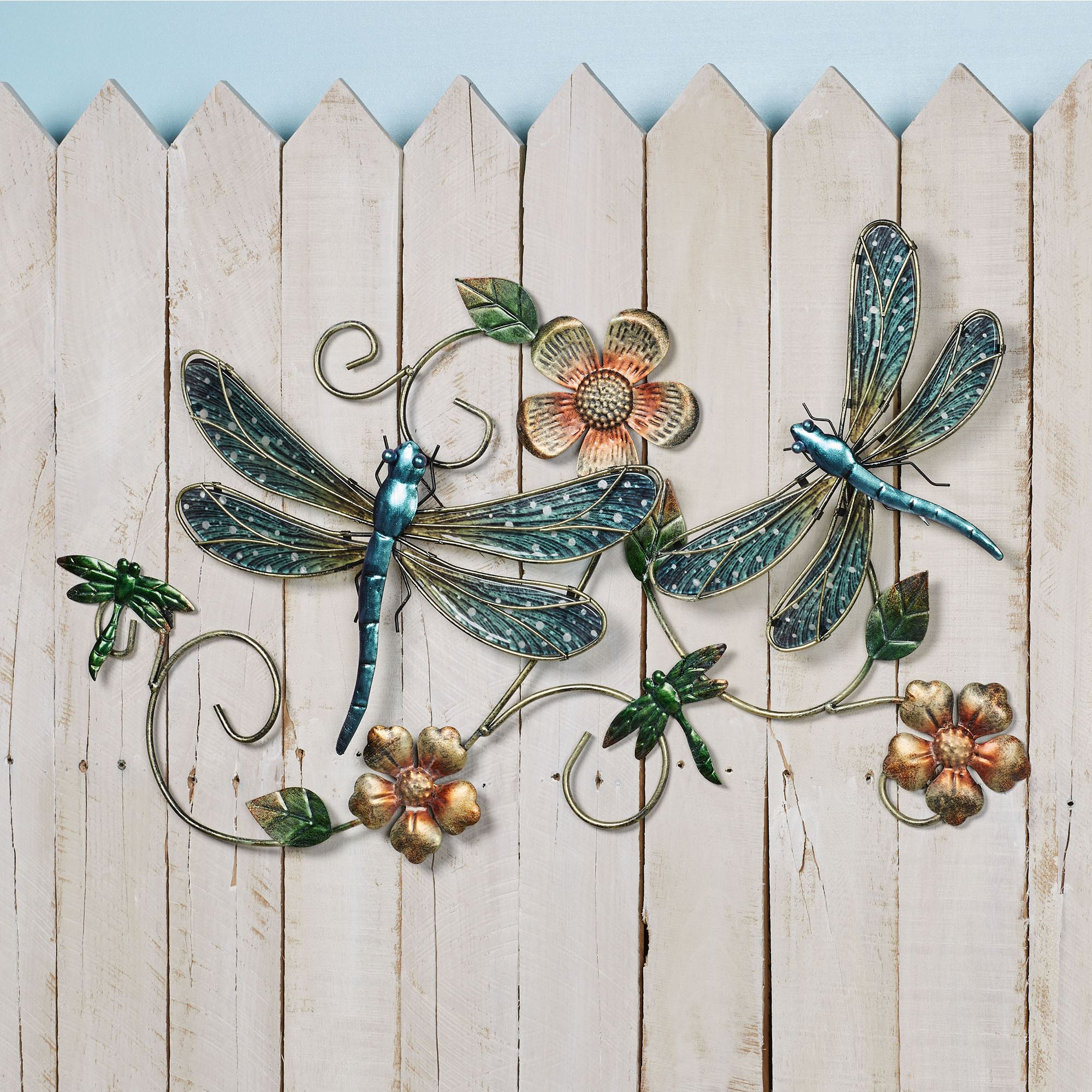 Outdoor Indoor Finia-Finley Metal Dragonfly Wall Decor Blue Mosaic Glass Art Sculpture Hanging Decorations for Home Bedroom Garden
