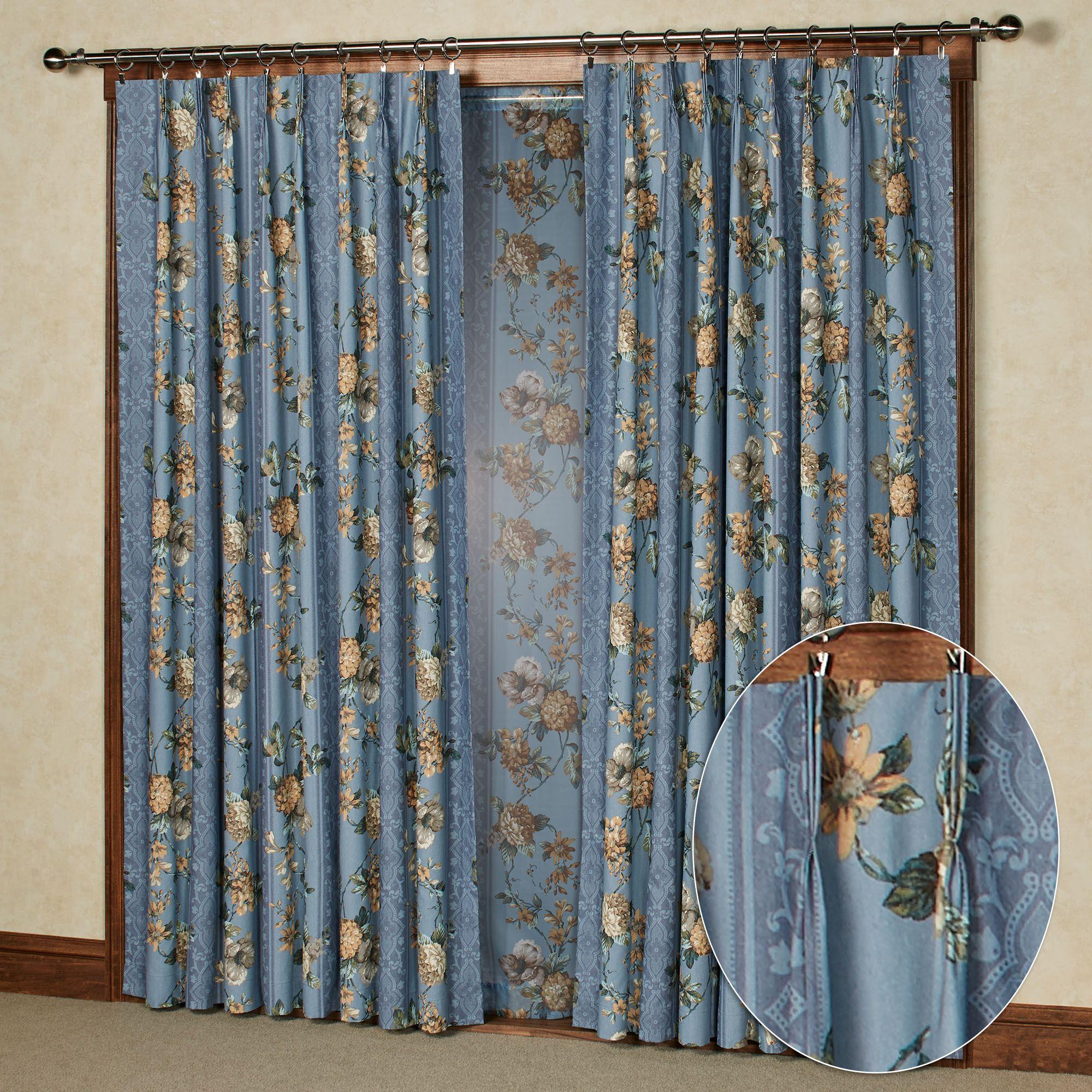 Birkhall Floral Room Darkening Pinch Pleat Curtain Window Treatment