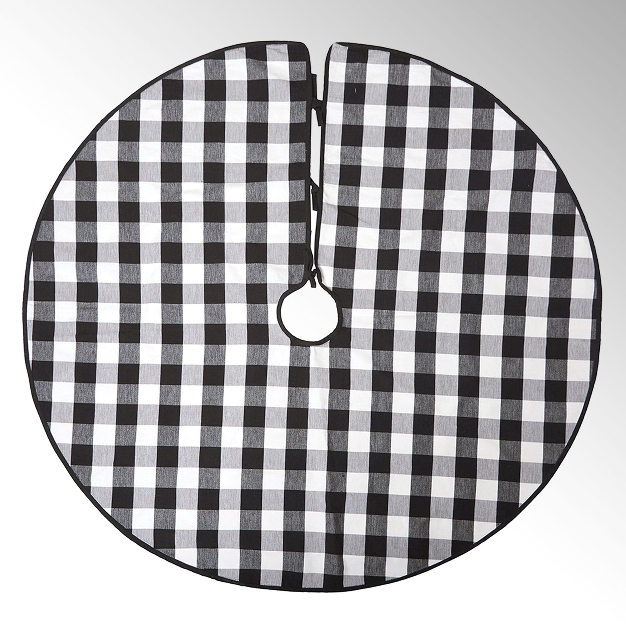 Franklin Black And White Buffalo Plaid Christmas Tree Skirt