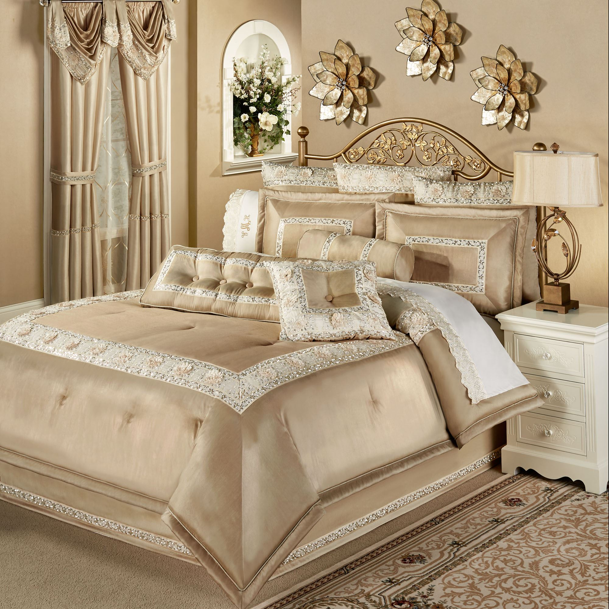 Elegant Shimmer Light Gold Cal King Comforter Set Bedding