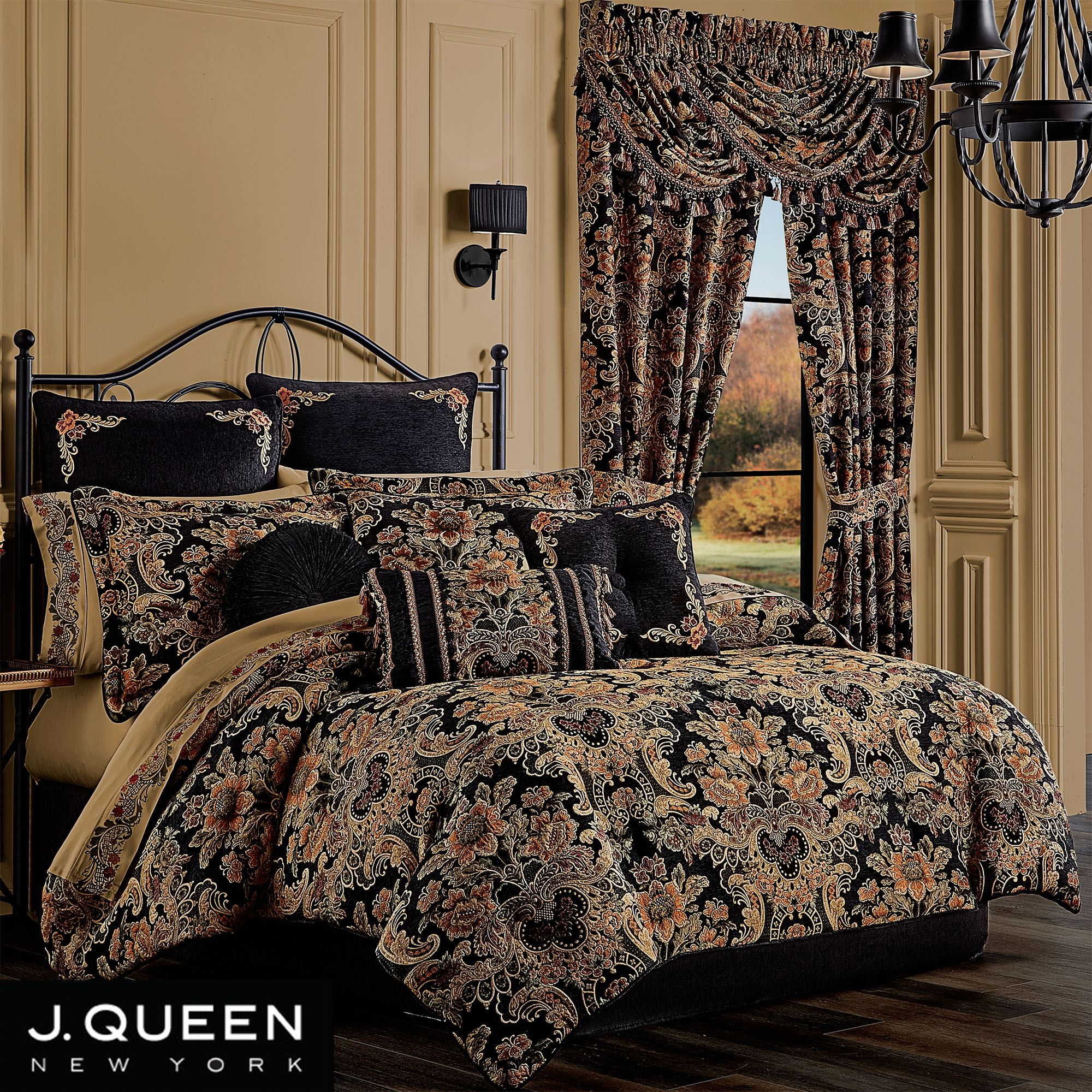 Toscano Black Jacobean Damask Comforter Set Bedding By J Queen New York