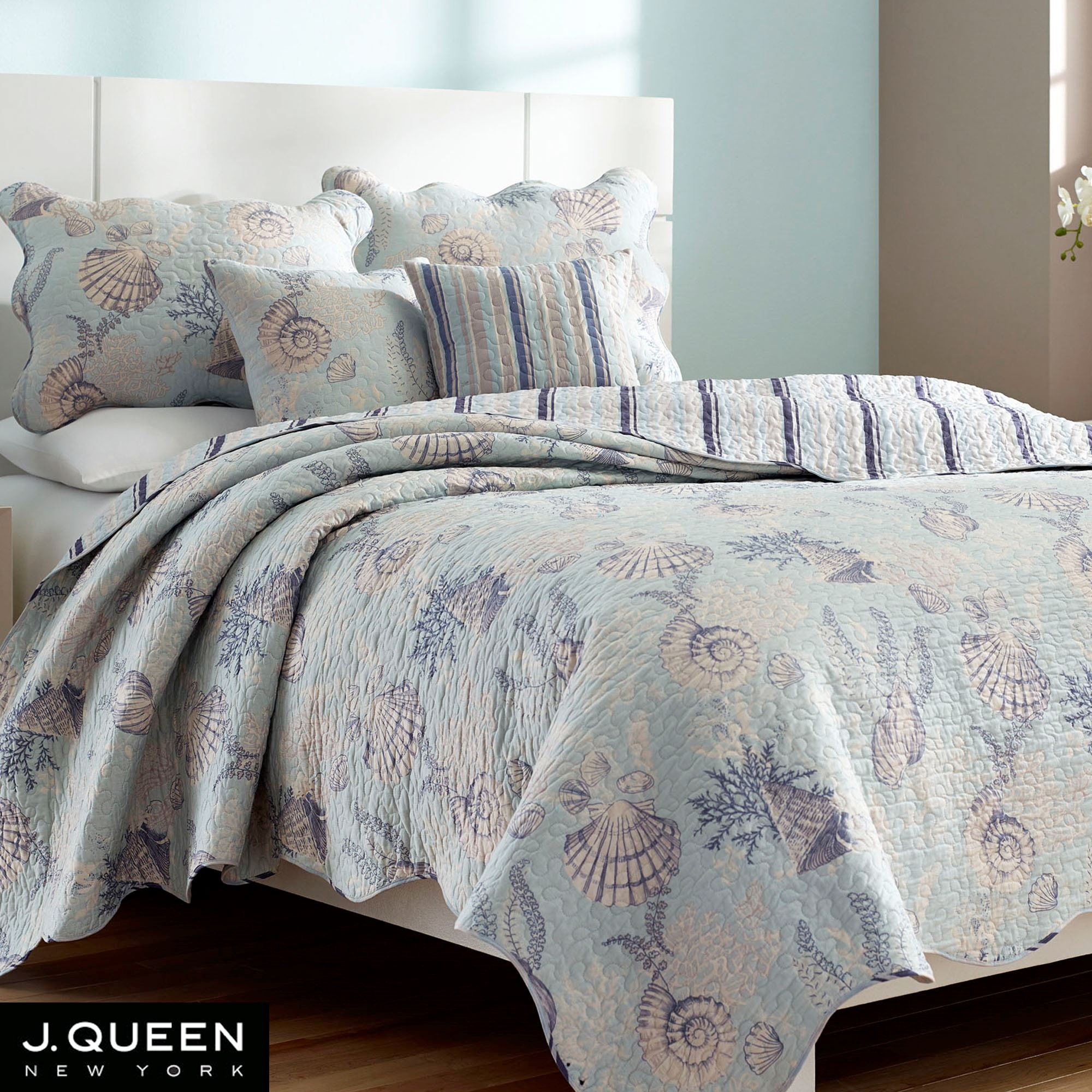 Pacifica Pale Blue Coastal King Coverlet Set By J Queen New York