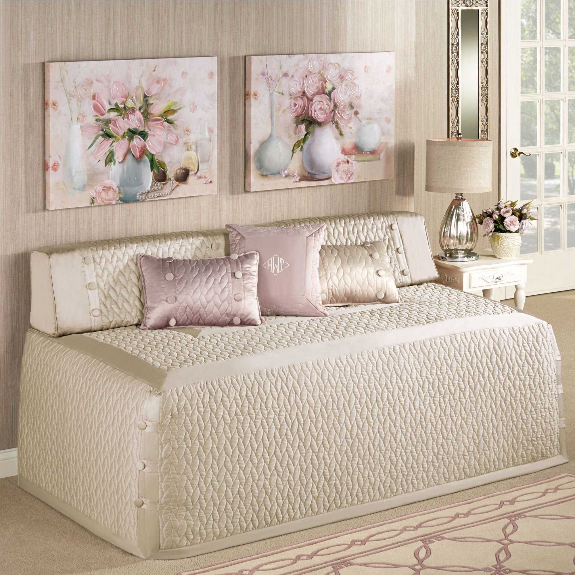 - Silk Allure Quilted Hollywood Daybed Cover Bedding