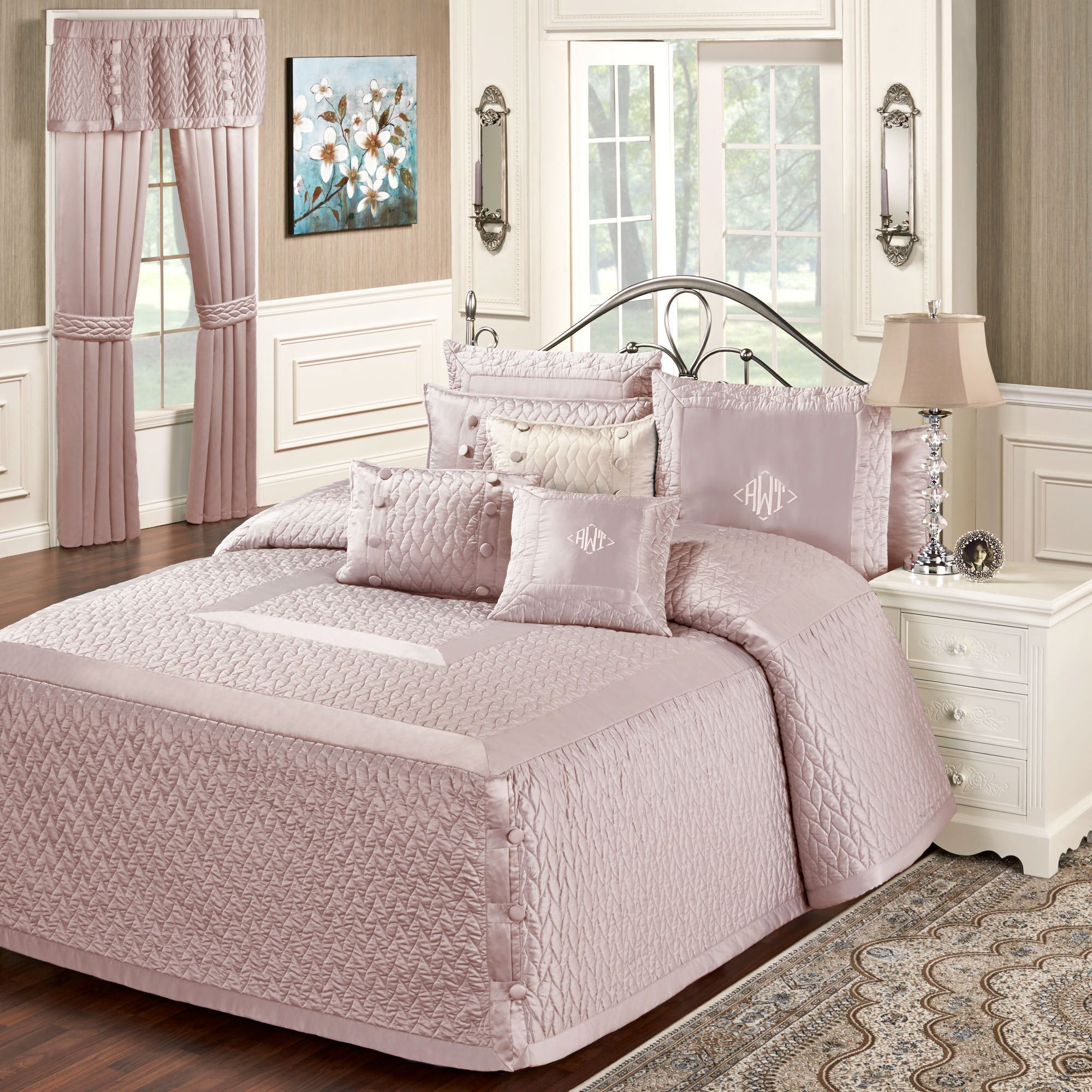 Silk Allure Dusty Mauve Oversized Quilted Bedspread Bedding