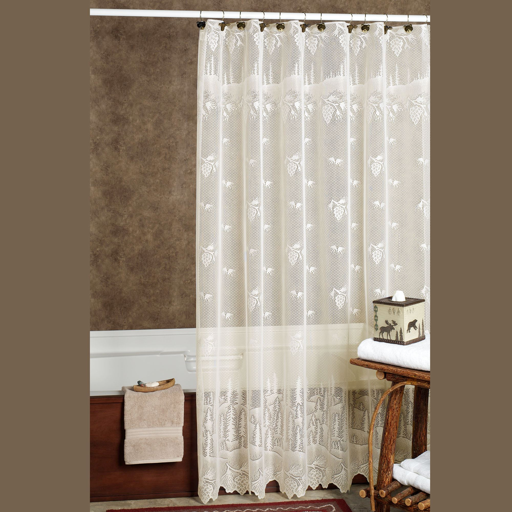 Pine Cone Lace Shower Curtain