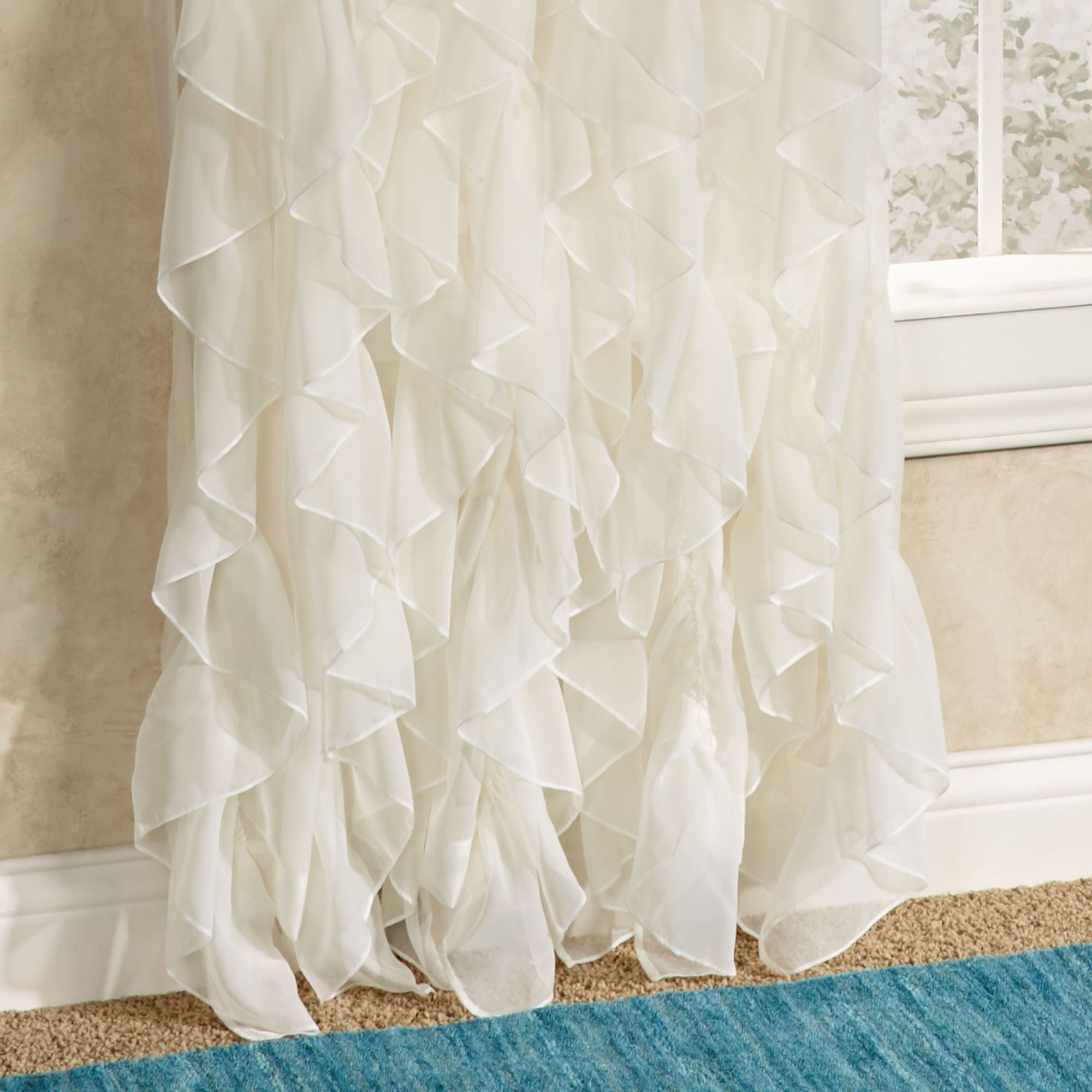 Cascade Sheer Voile Ruffled Window Treatment Ruffled Curtains